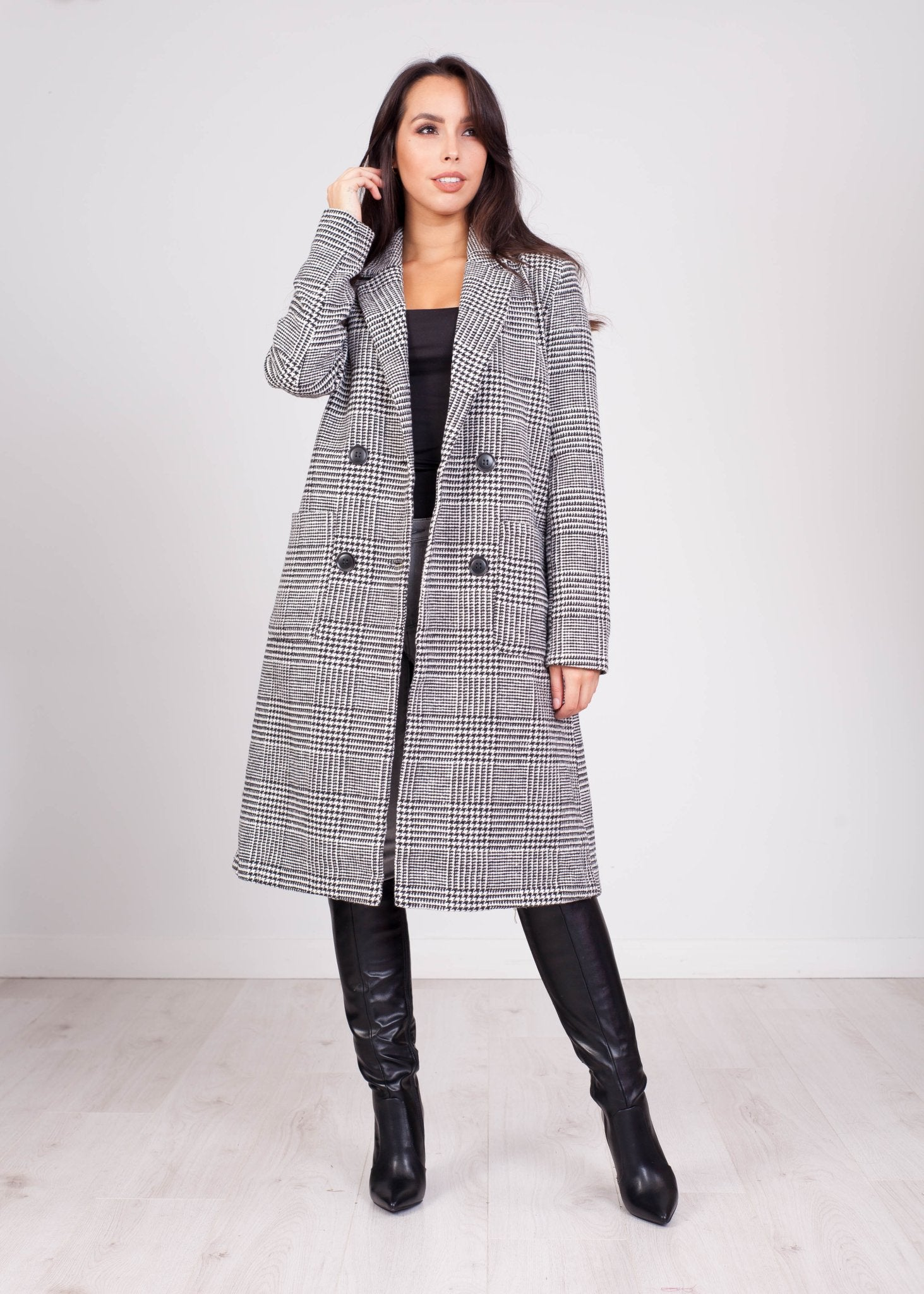 Emilia Check Longline Jacket - The Walk in Wardrobe