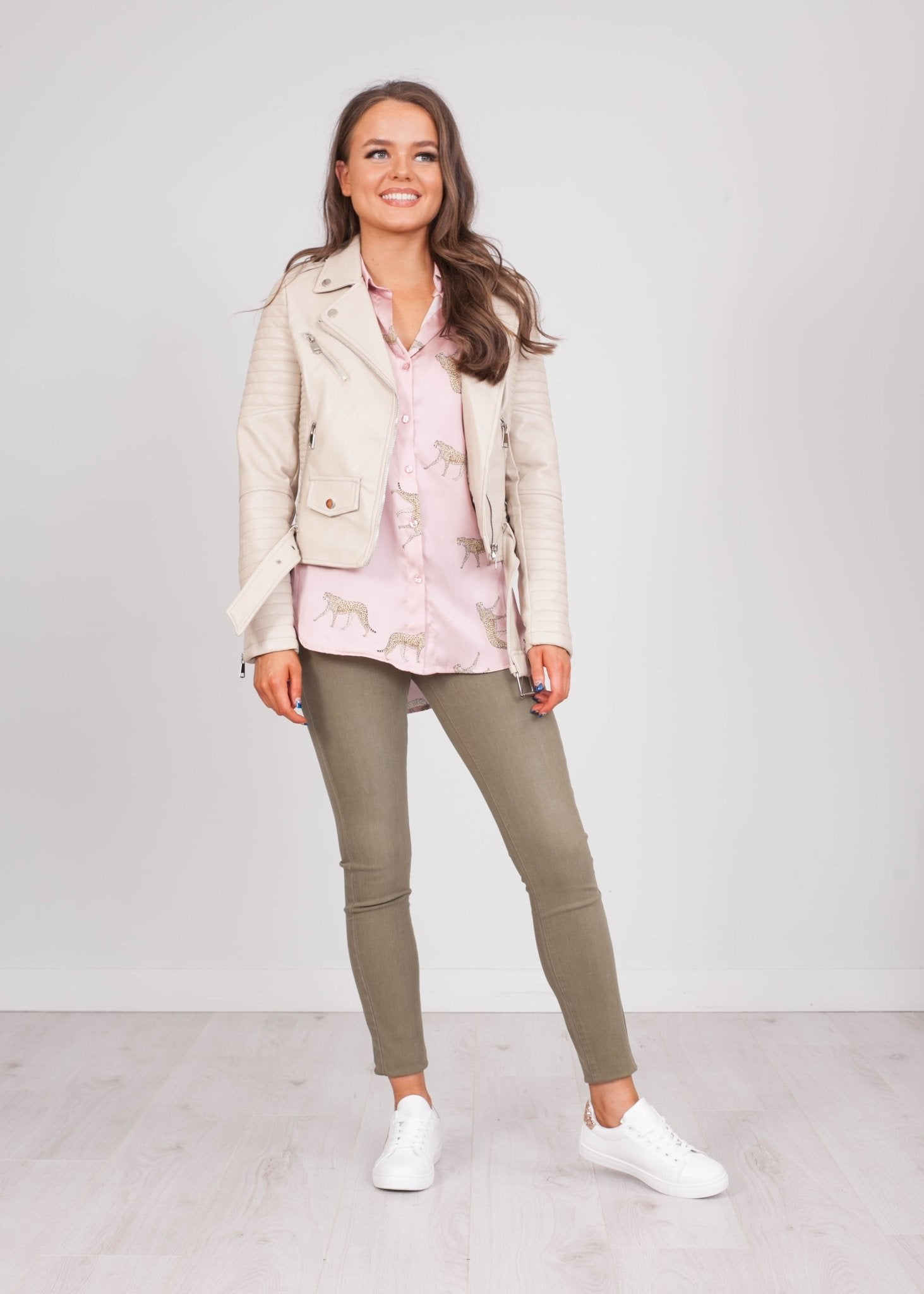 Emilia Cream Quilted Biker Jacket - The Walk in Wardrobe