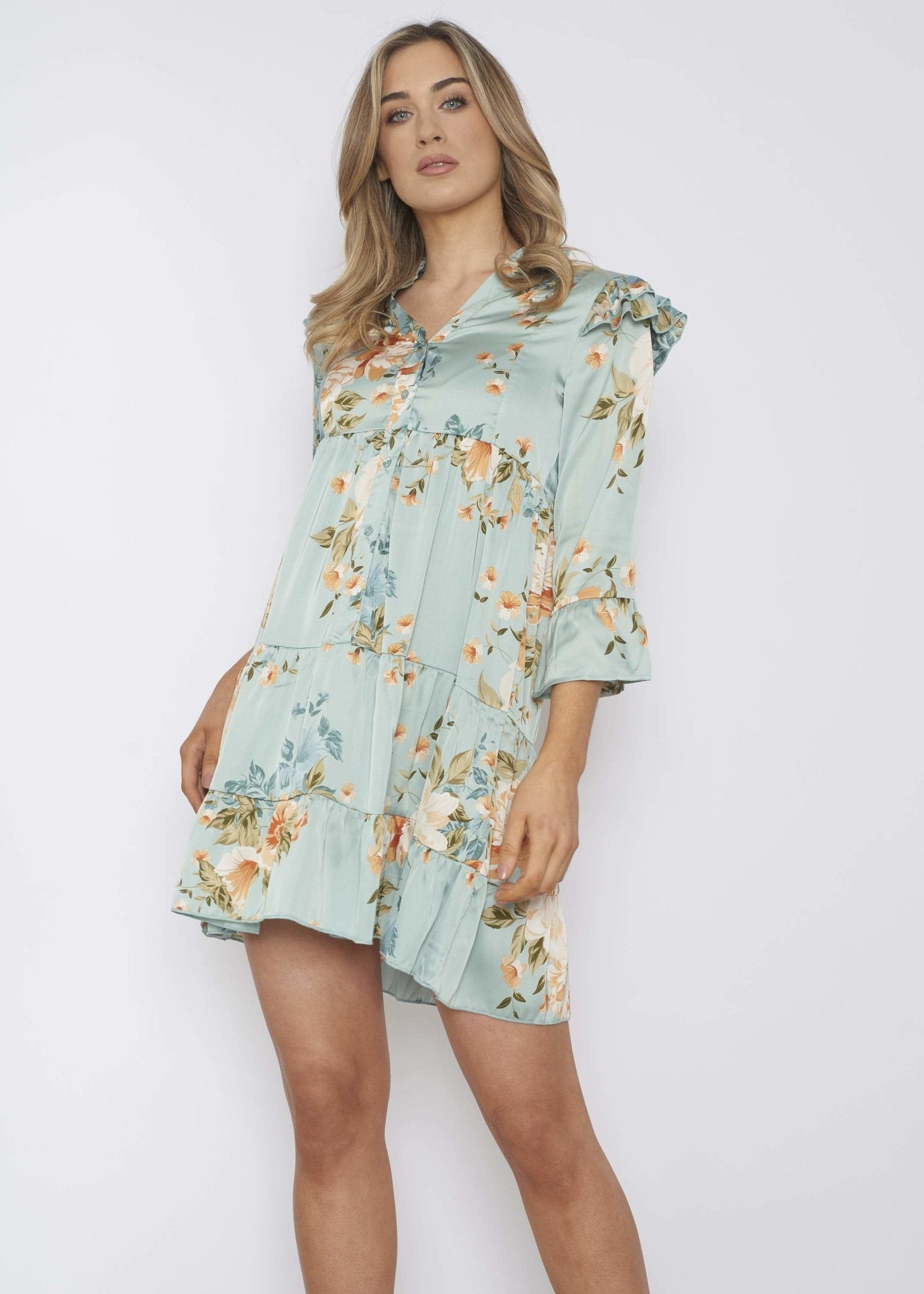 Emilia Floral Dress In Duck Egg - The Walk in Wardrobe