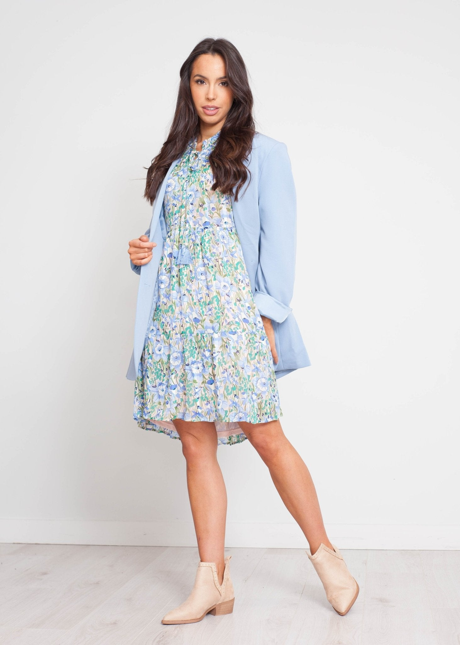 Emilia Floral Print Dress In Blue Mix - The Walk in Wardrobe