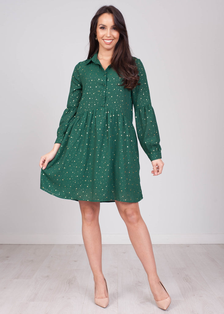 Emilia Green Dress with Gold Flakes - The Walk in Wardrobe