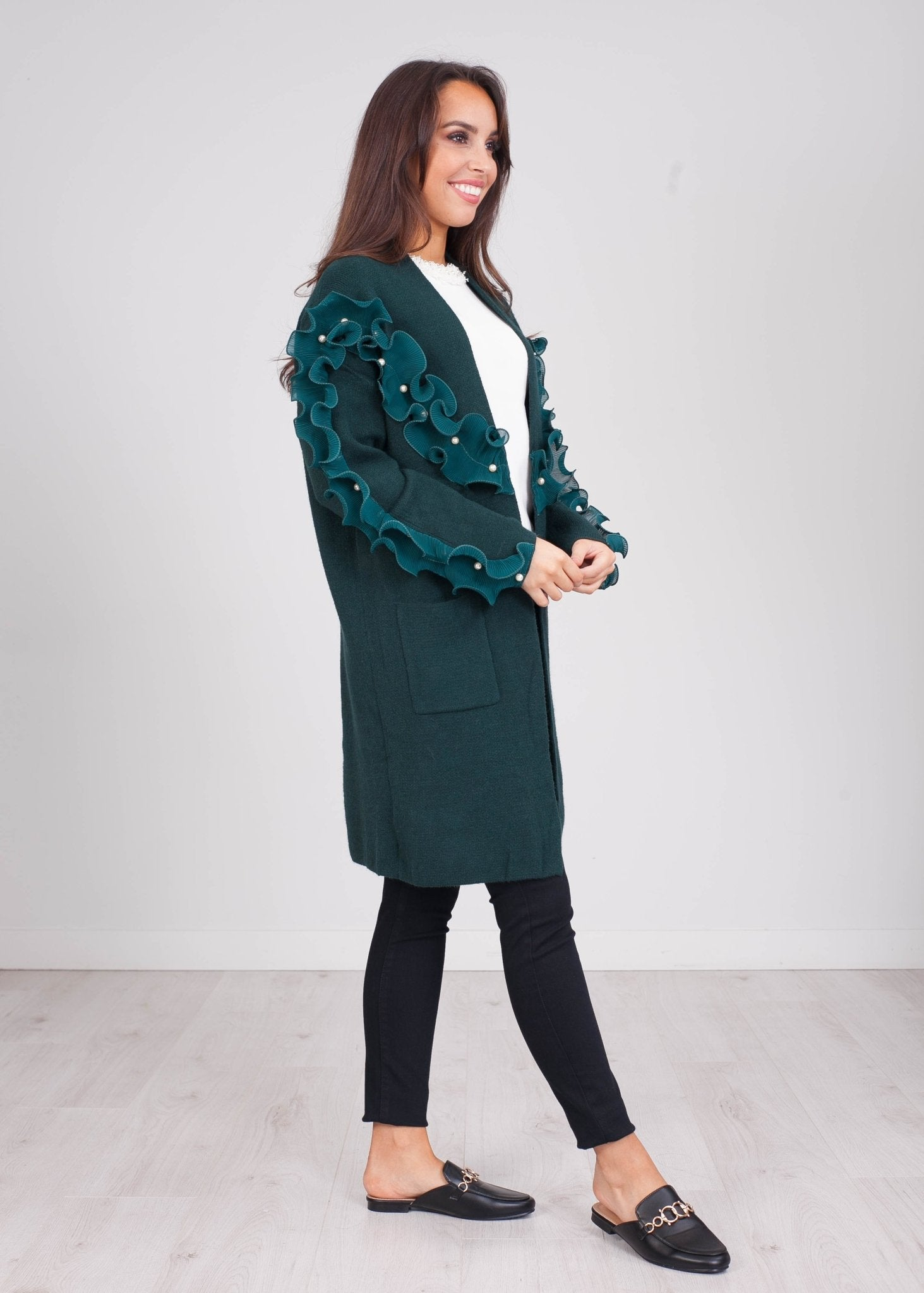 Emilia Green Ruffle & Pearl Cardigan - The Walk in Wardrobe