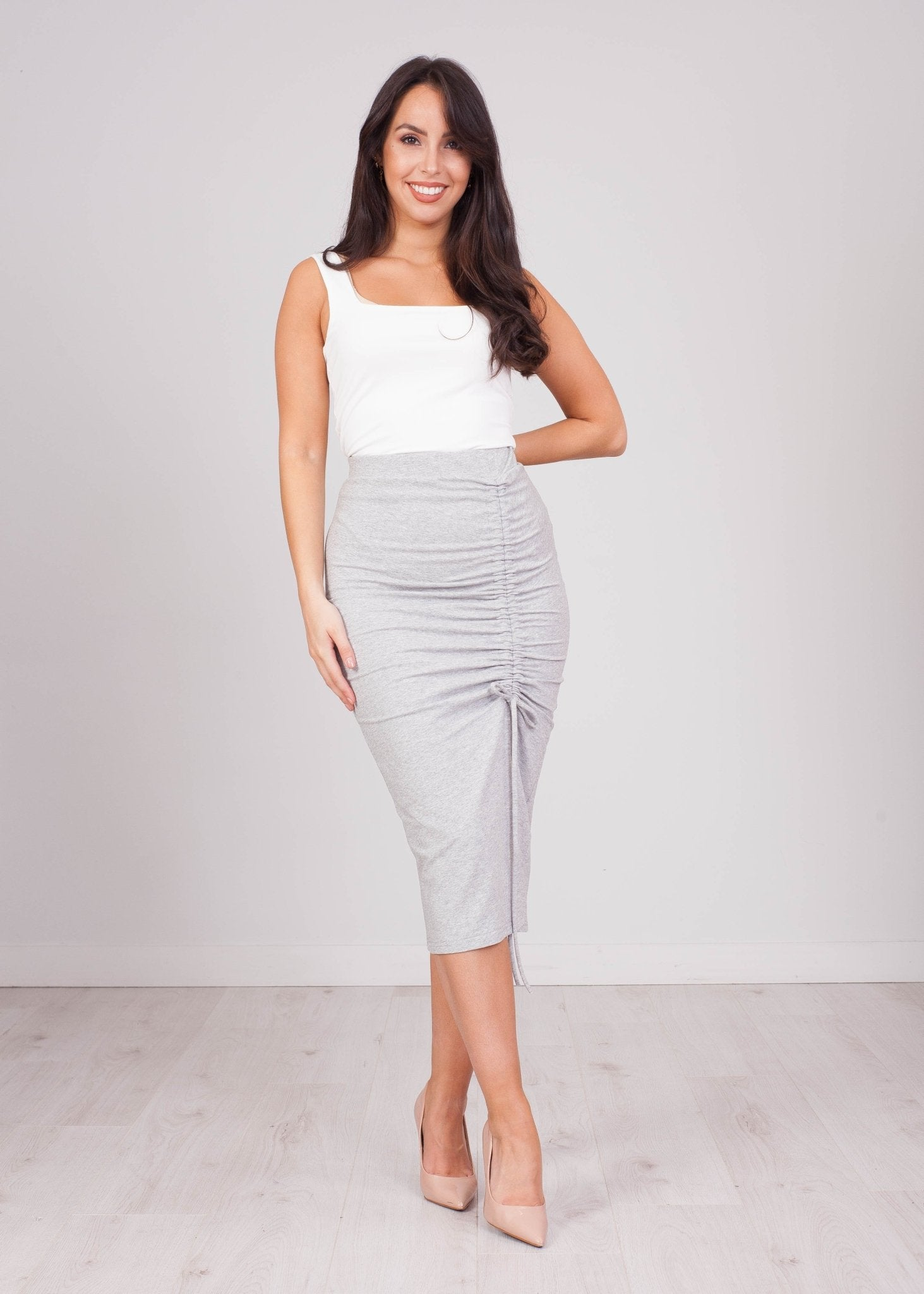 Emilia Grey Jersey Ruched Skirt - The Walk in Wardrobe