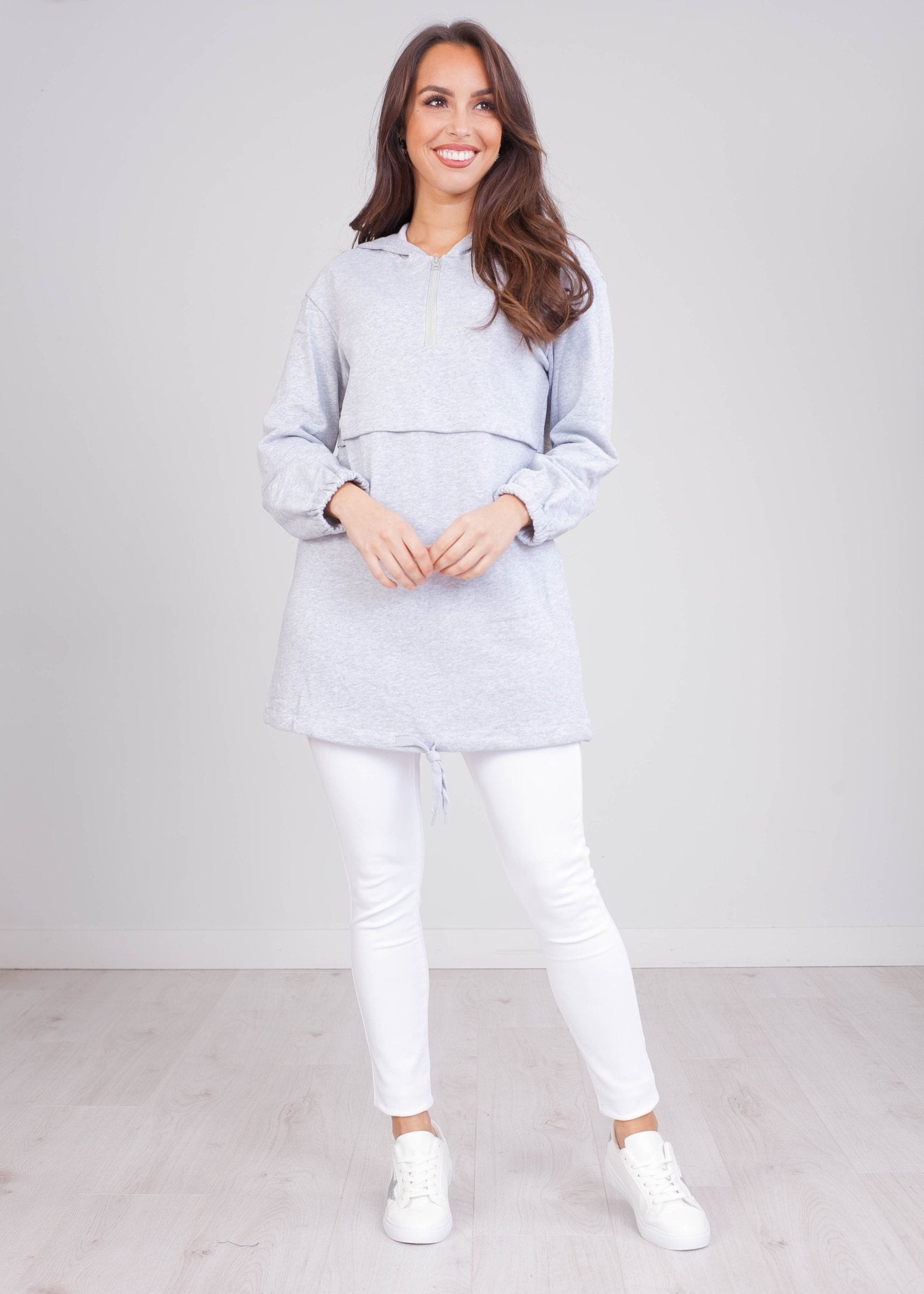 Emilia Grey Longline Hoodie - The Walk in Wardrobe
