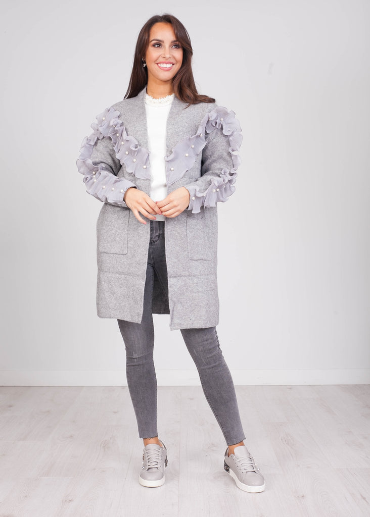 Emilia Grey Ruffle & Pearl Cardigan - The Walk in Wardrobe