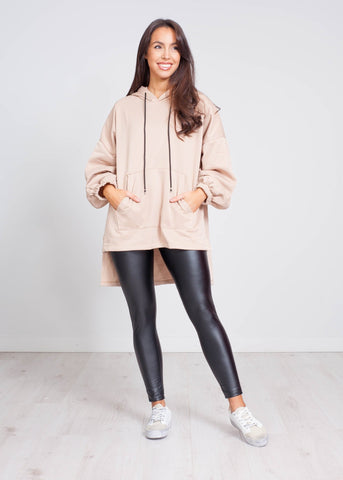 Emilia High Low Hoodie In Beige - The Walk in Wardrobe