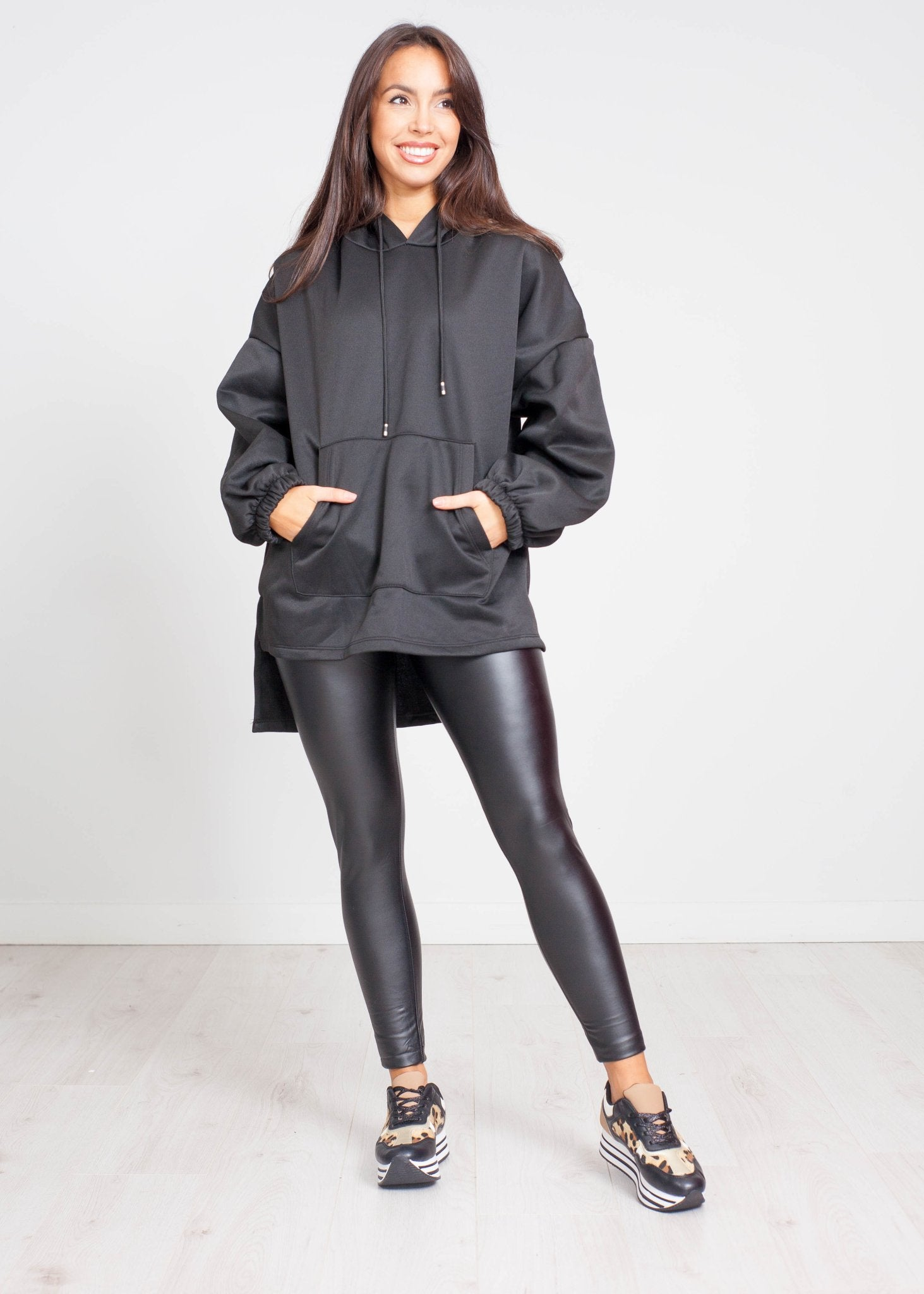 Emilia High Low Hoodie In Black - The Walk in Wardrobe