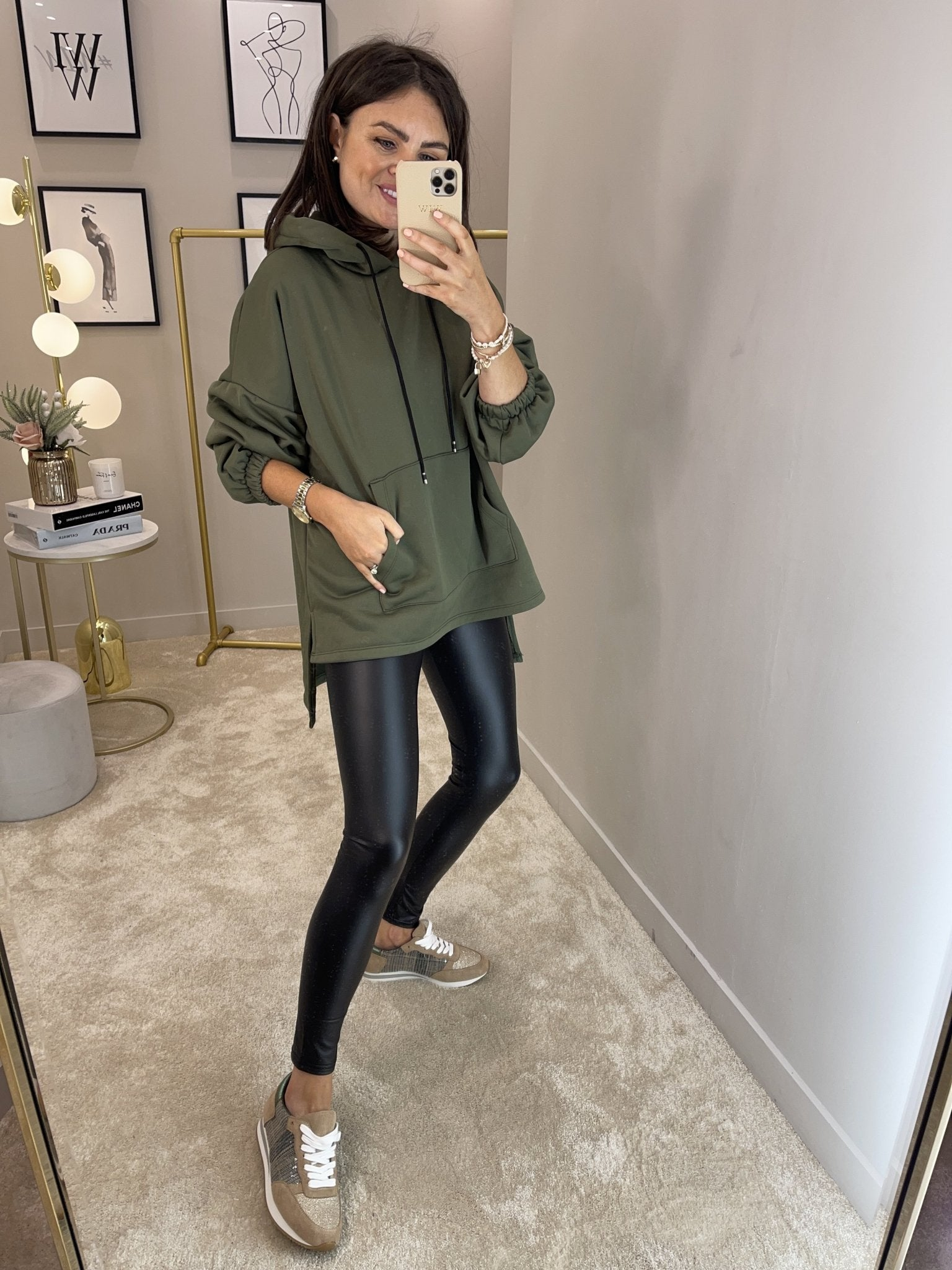 Emilia High Low Hoodie In Khaki - The Walk in Wardrobe