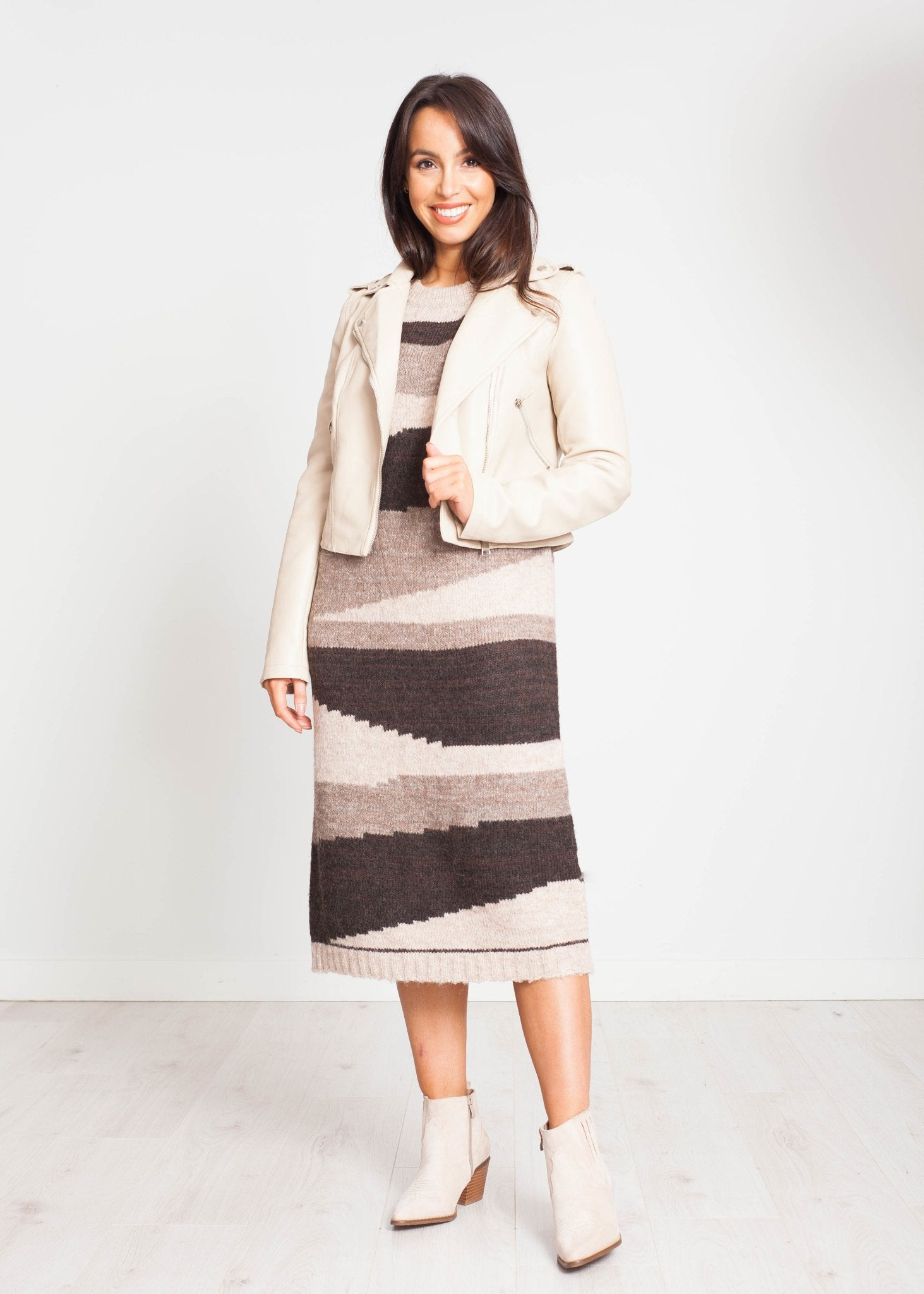 Emilia Jumper Dress In Brown Mix - The Walk in Wardrobe