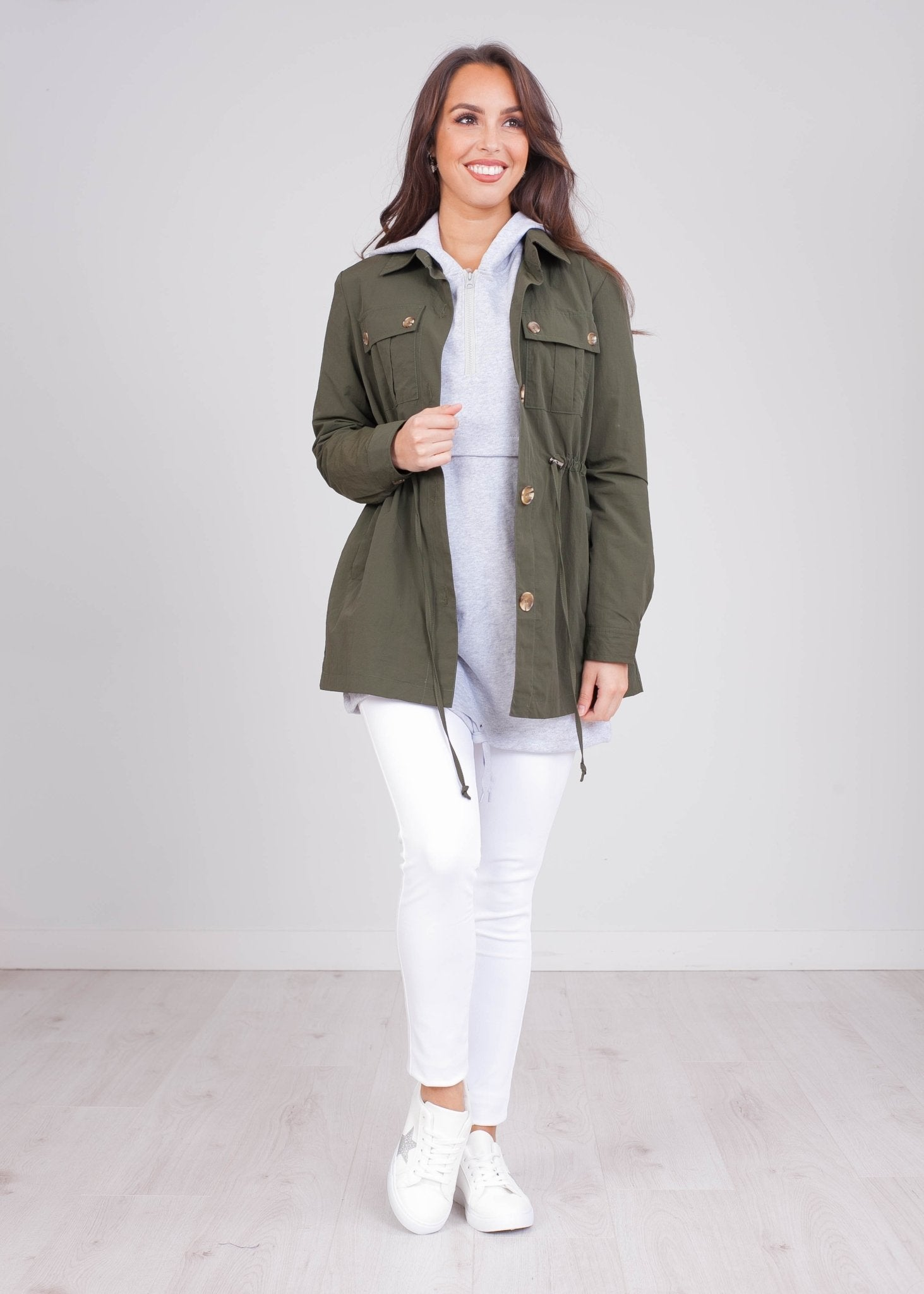 Emilia Khaki Utility Jacket - The Walk in Wardrobe