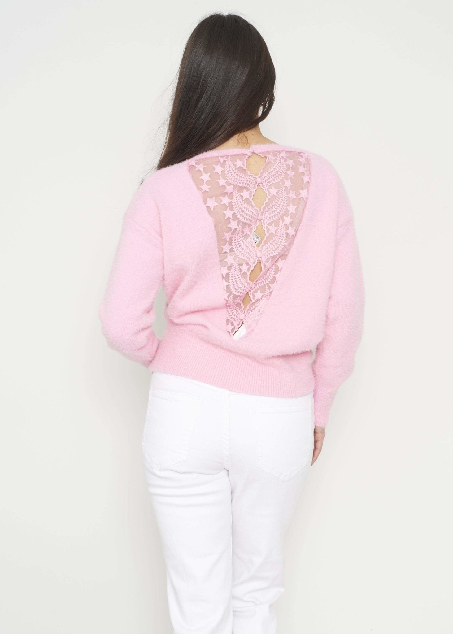 Emilia Lace Back Jumper In Pink - The Walk in Wardrobe