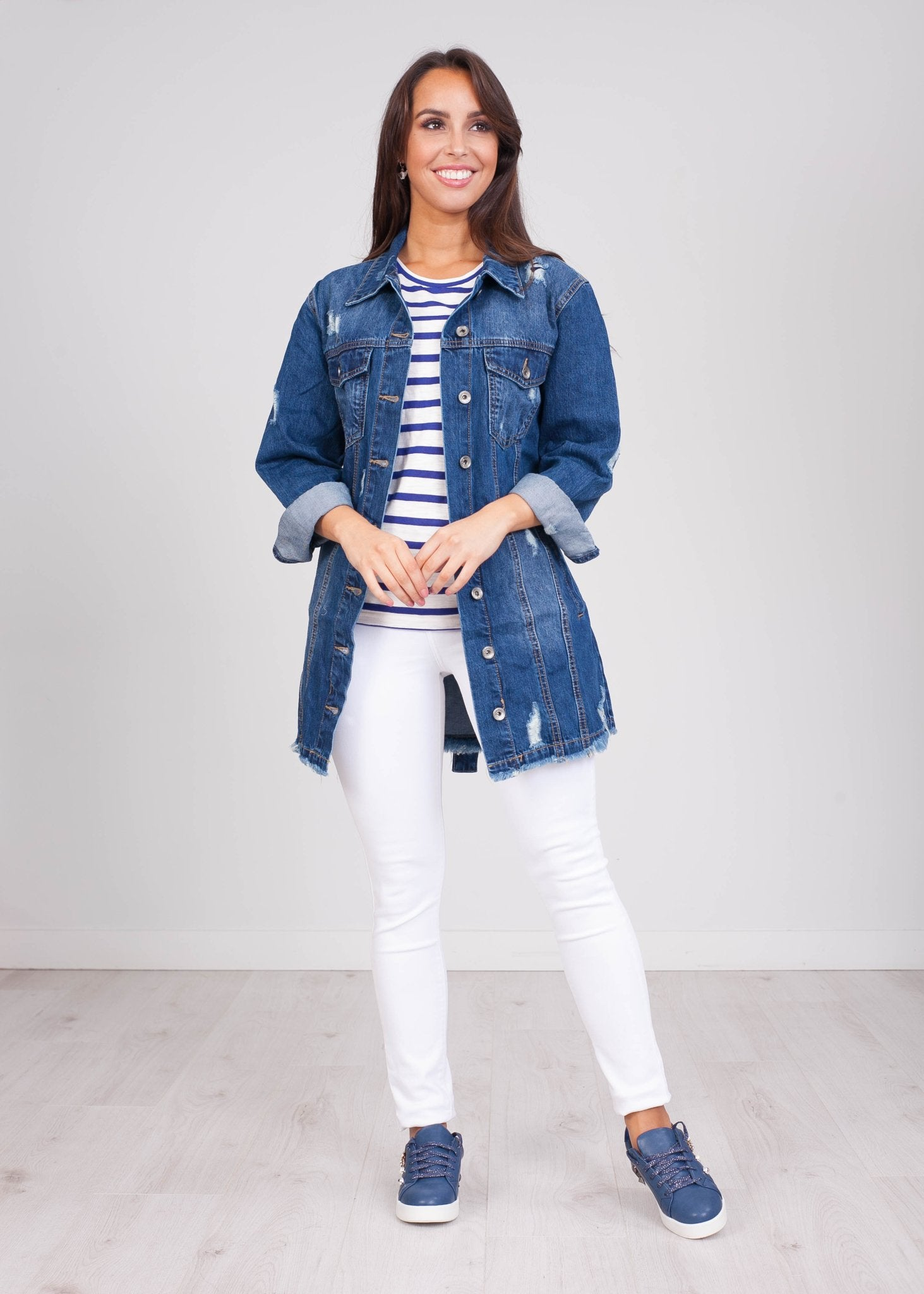 Emilia Longline Denim Jacket - The Walk in Wardrobe