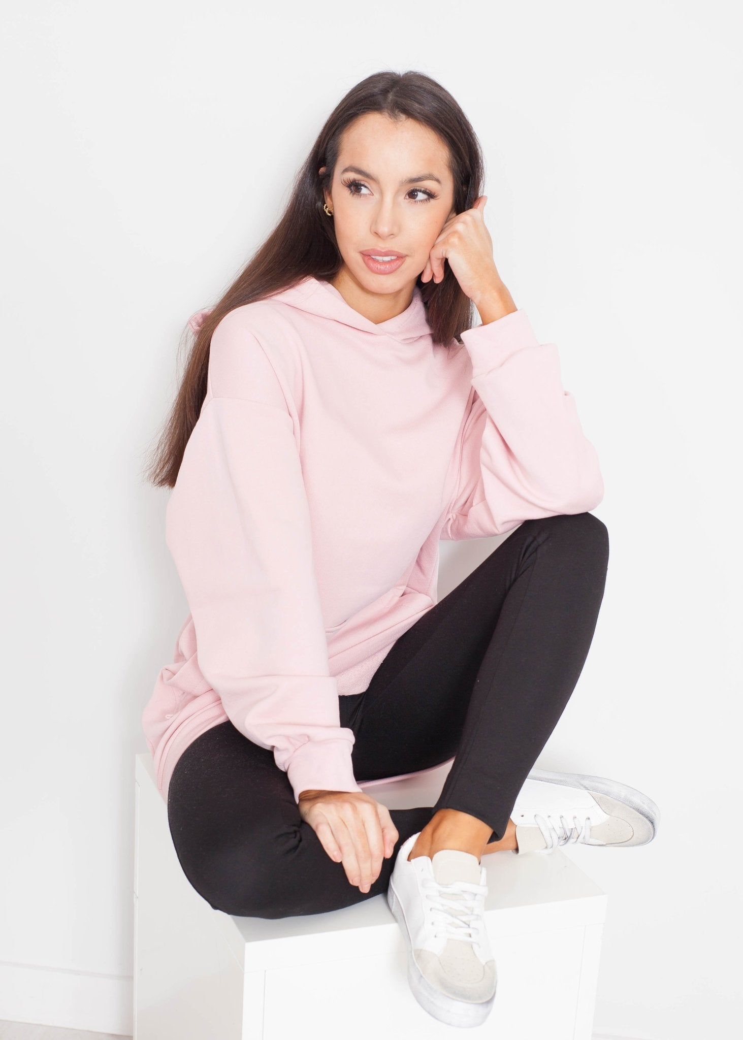 Emilia Longline Hoodie In Pale Pink - The Walk in Wardrobe
