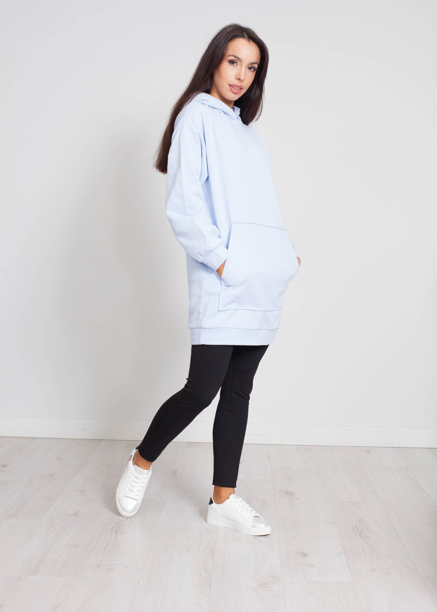 Emilia Longline Hoodie In Powder Blue - The Walk in Wardrobe