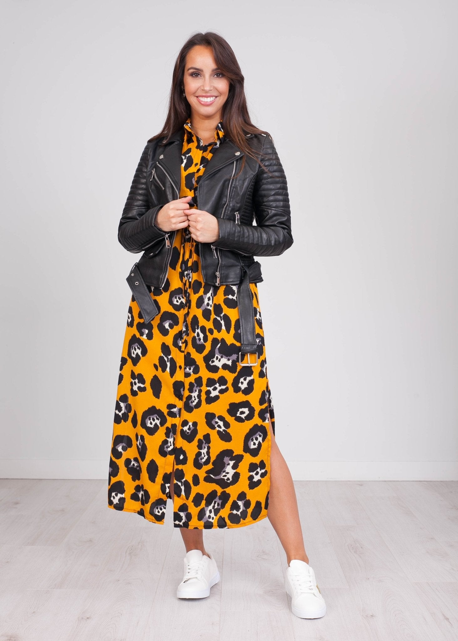 Emilia Mustard Animal Print Dress - The Walk in Wardrobe
