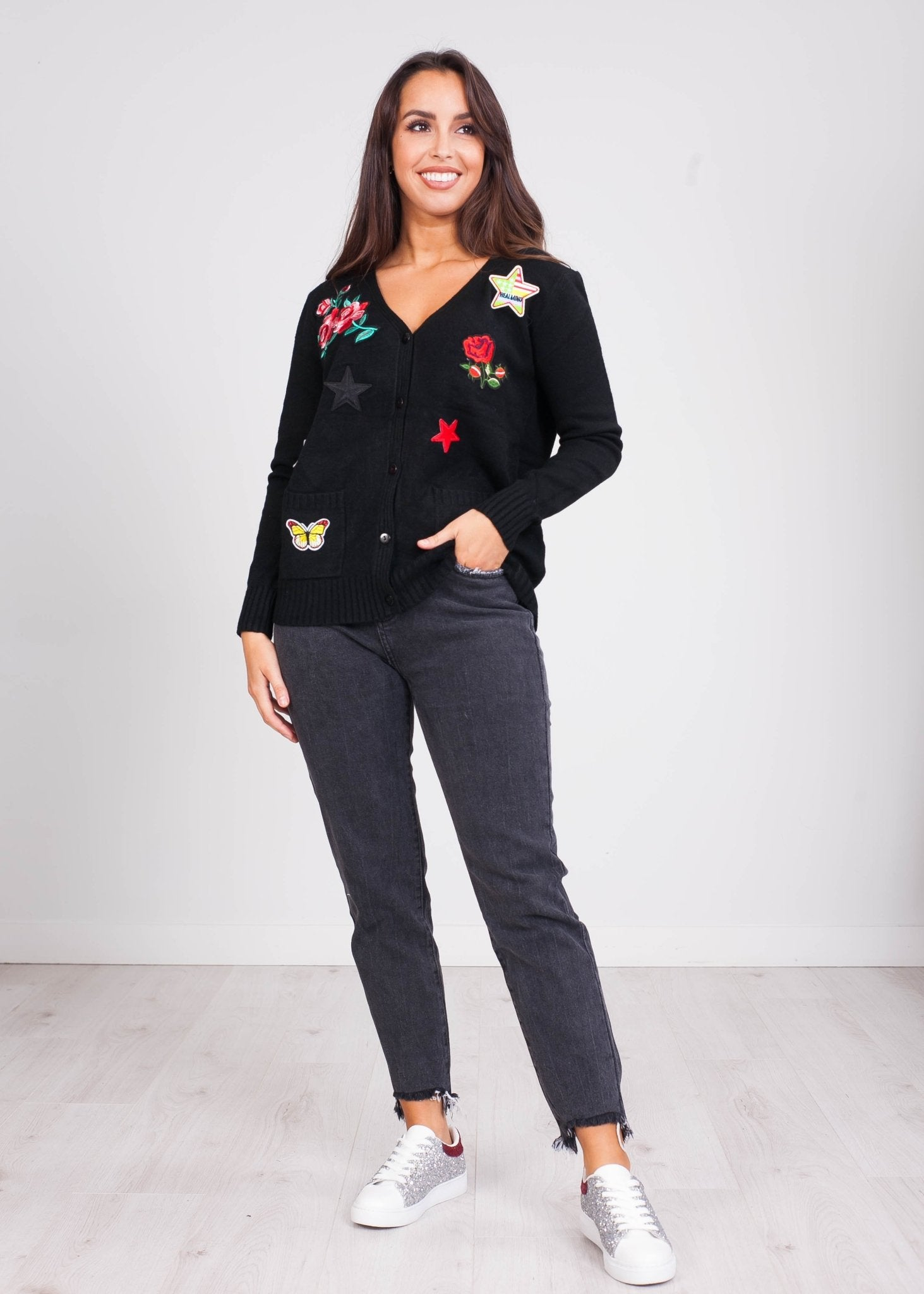 Emilia Navy Rose Patch Cardi - The Walk in Wardrobe