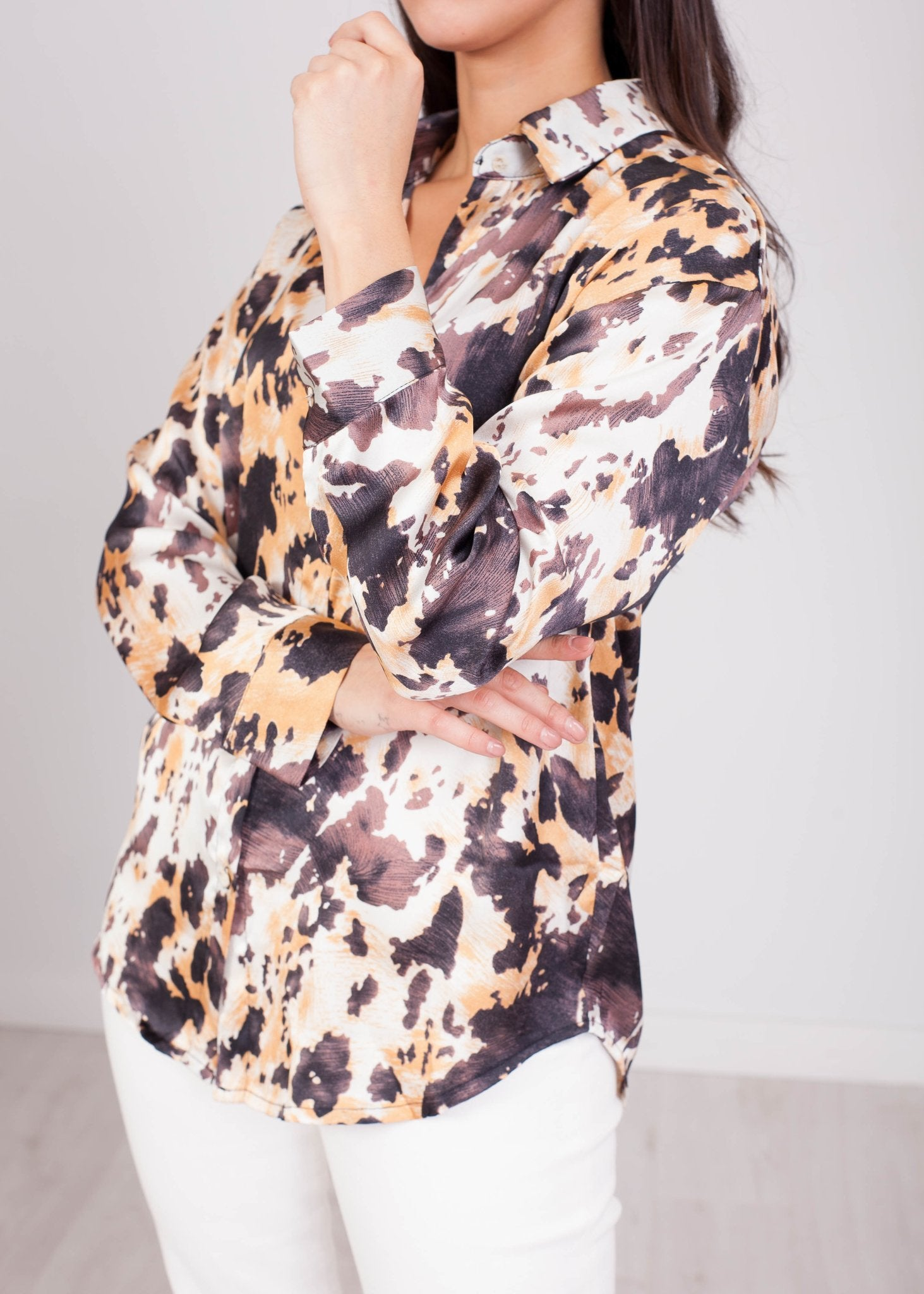 Emilia Neutral Abstract Print Blouse - The Walk in Wardrobe