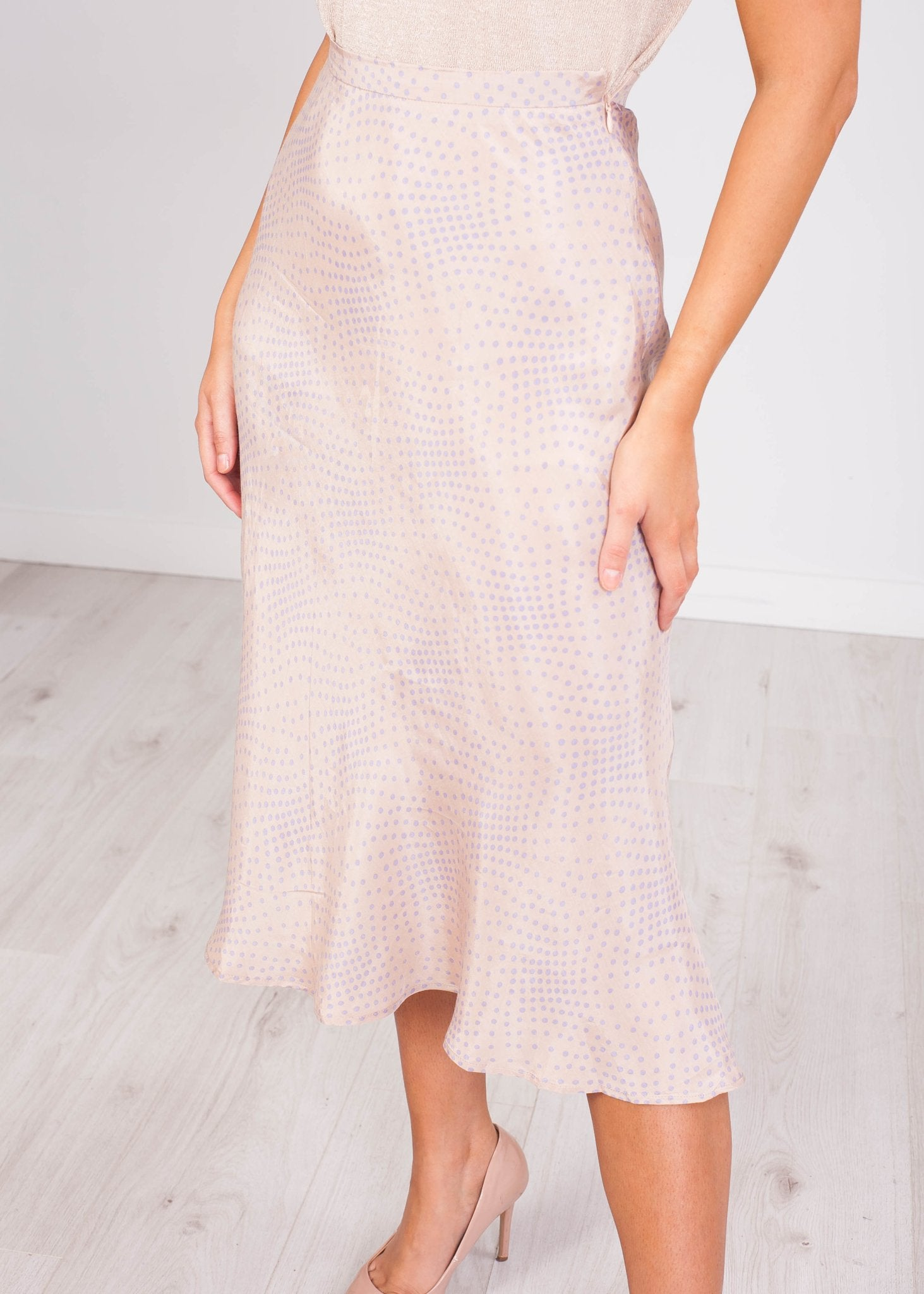 Emilia Polka Dot Beige Slip Skirt - The Walk in Wardrobe