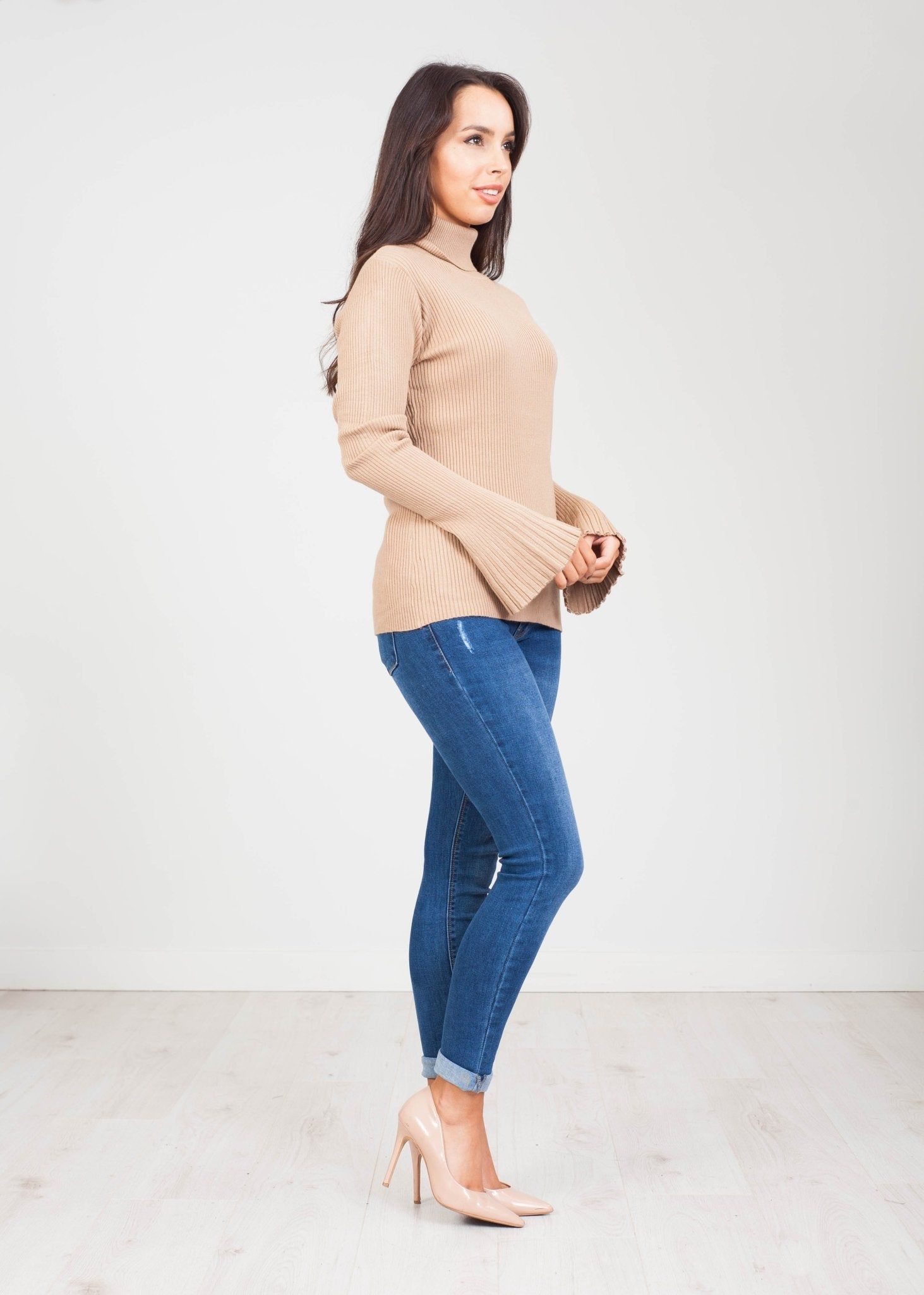 Emilia Polo Neck with Bell Cuff in Beige - The Walk in Wardrobe