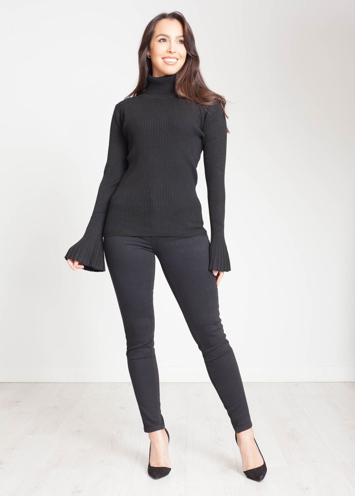 Emilia Polo Neck With Bell Cuff In Black - The Walk in Wardrobe