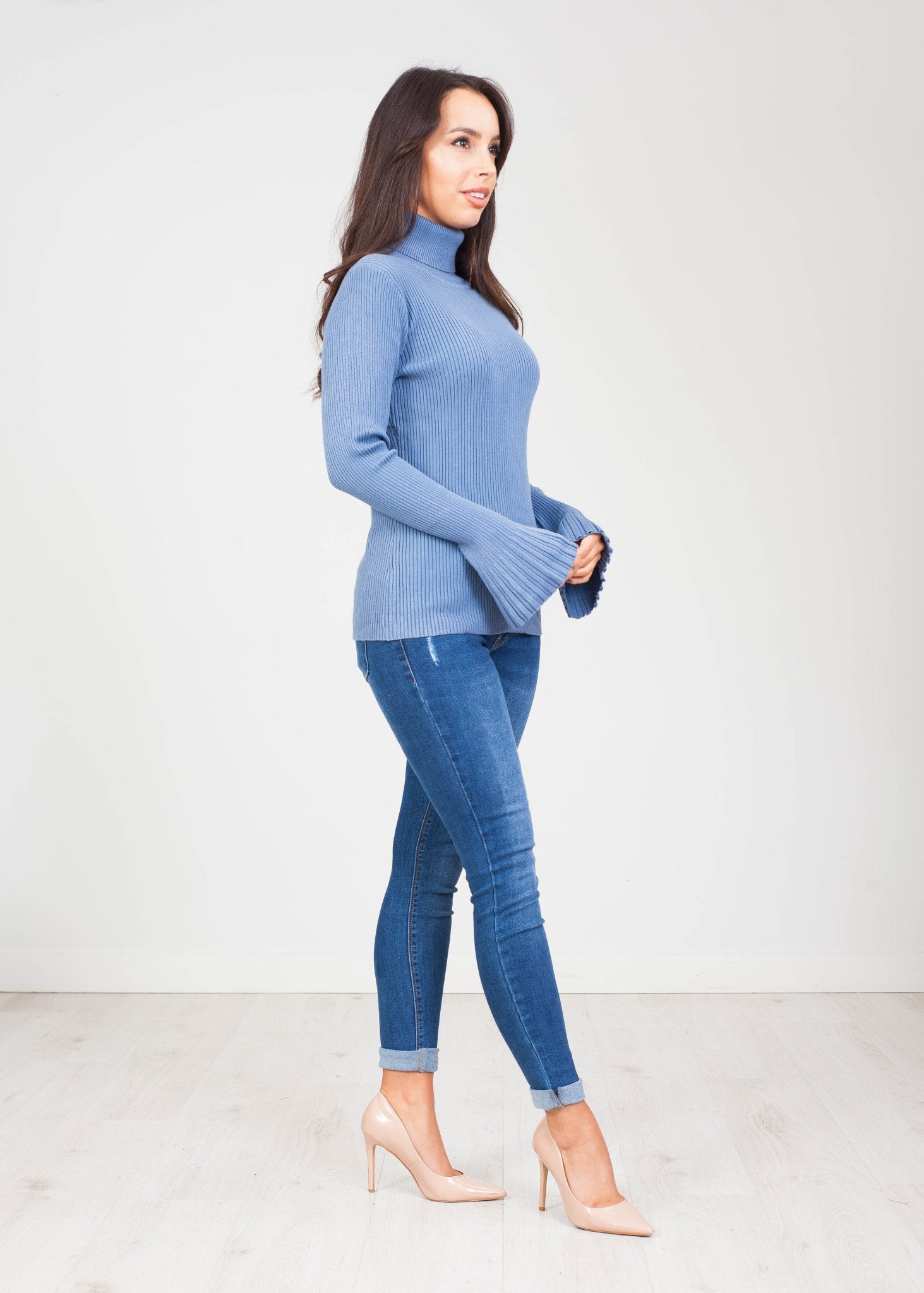 Emilia Polo Neck with Bell Cuff in Blue - The Walk in Wardrobe