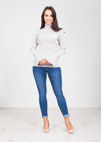 Emilia Polo Neck with Bell Cuff in Grey - The Walk in Wardrobe