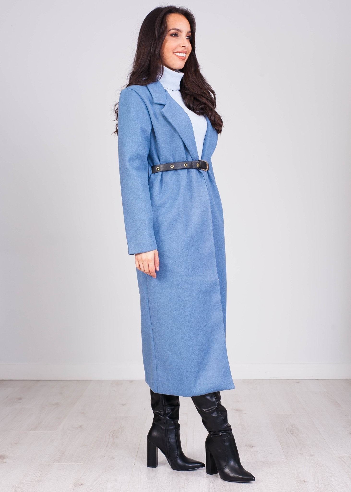 Emilia Powder Blue Loneline Coat - The Walk in Wardrobe