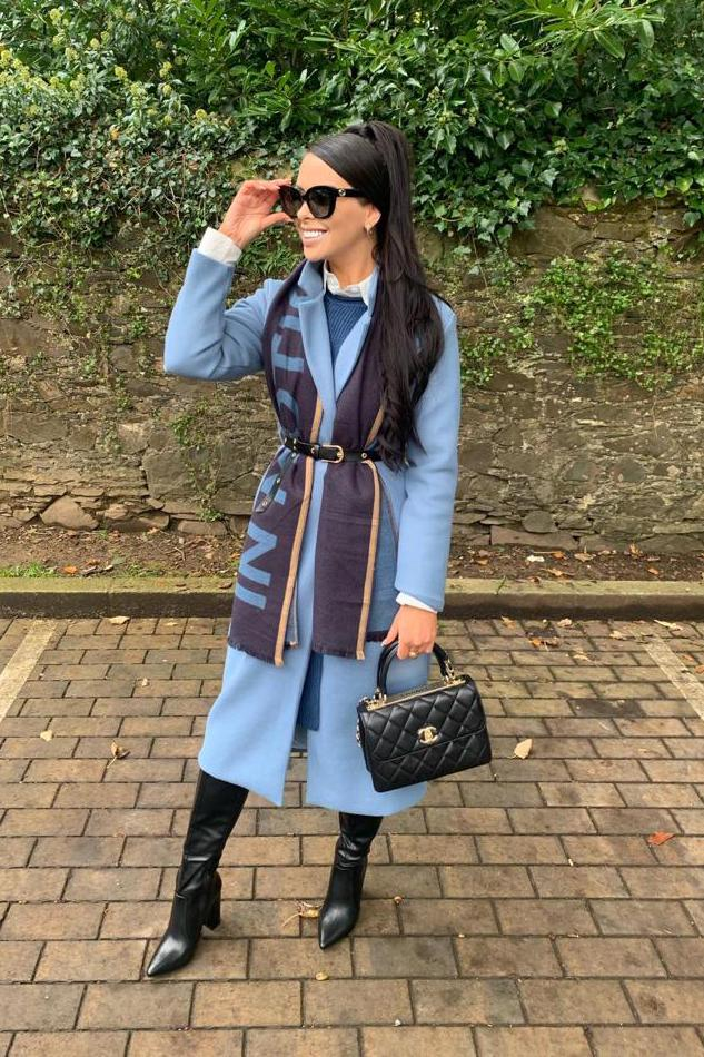 Emilia Powder Blue Longline Coat - The Walk in Wardrobe