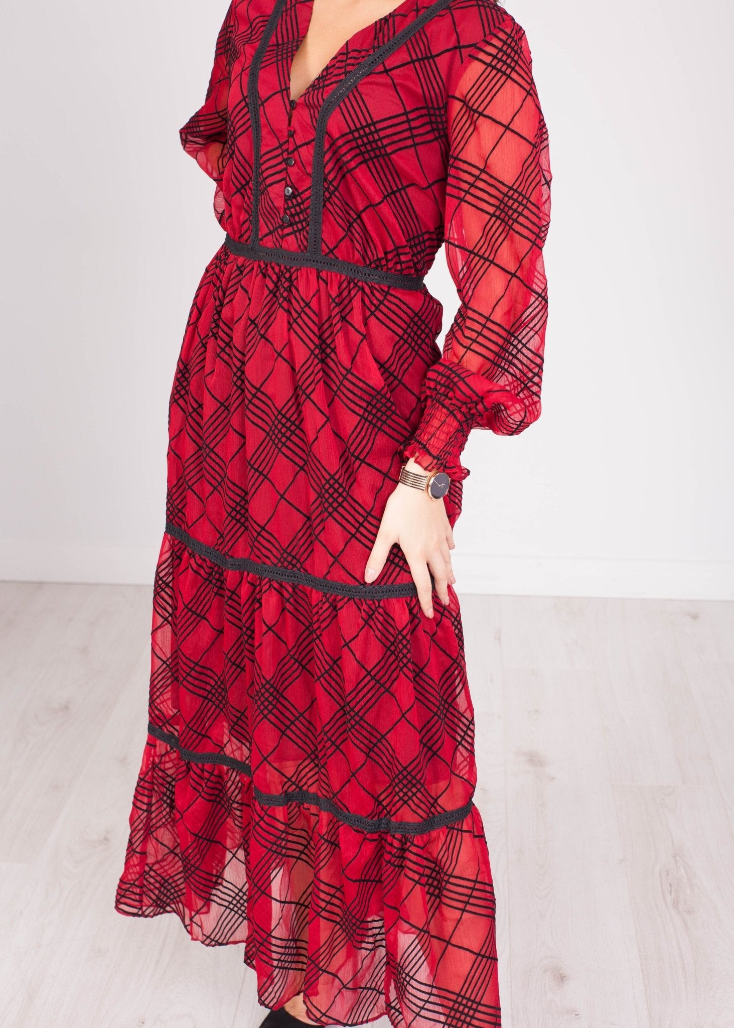 Emilia Red & Black Velvet Plaid Dress - The Walk in Wardrobe