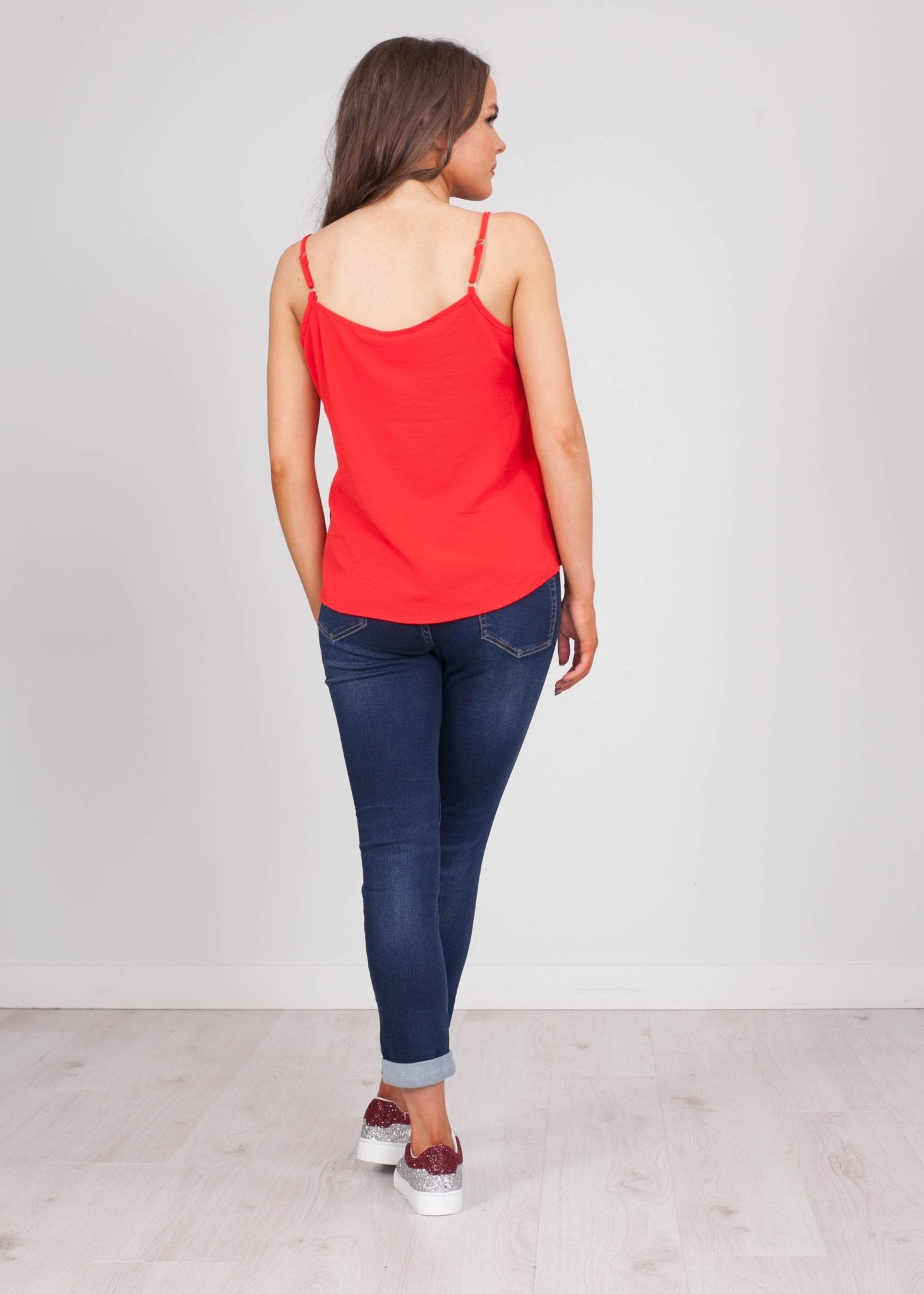 Emilia Red Lace Cami with Buttons - The Walk in Wardrobe