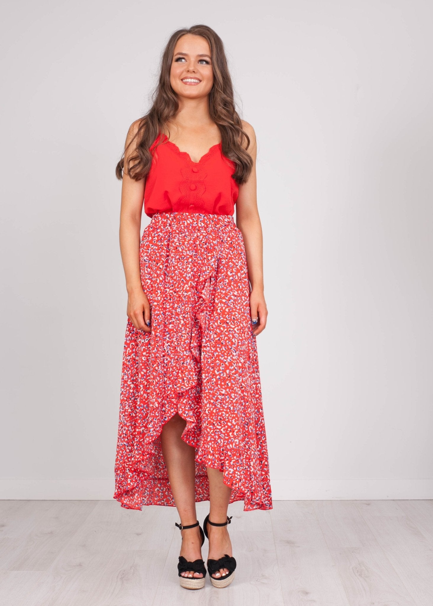 Emilia Red Print Midi Skirt - The Walk in Wardrobe