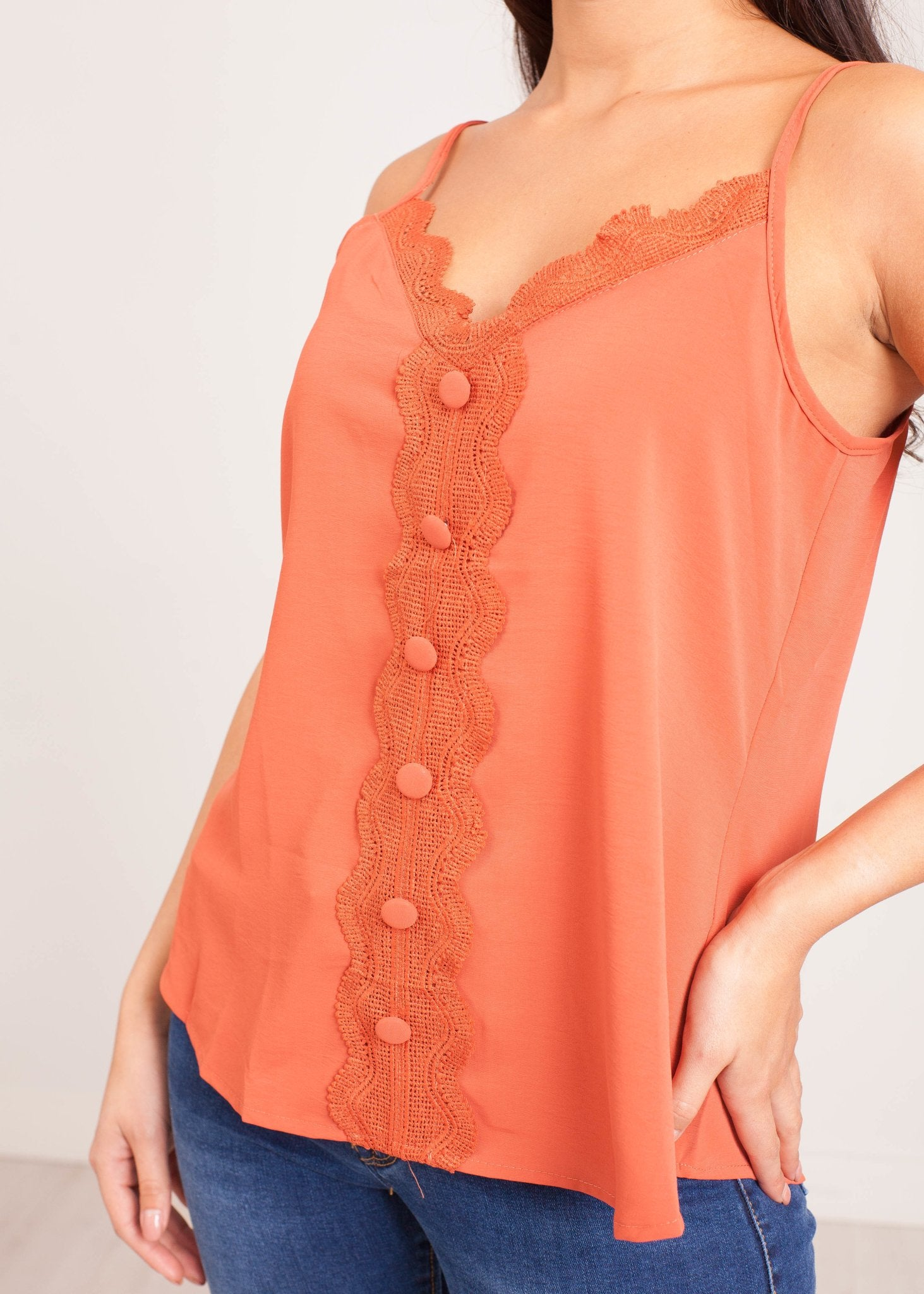 Emilia Rust Lace Cami with Buttons - The Walk in Wardrobe