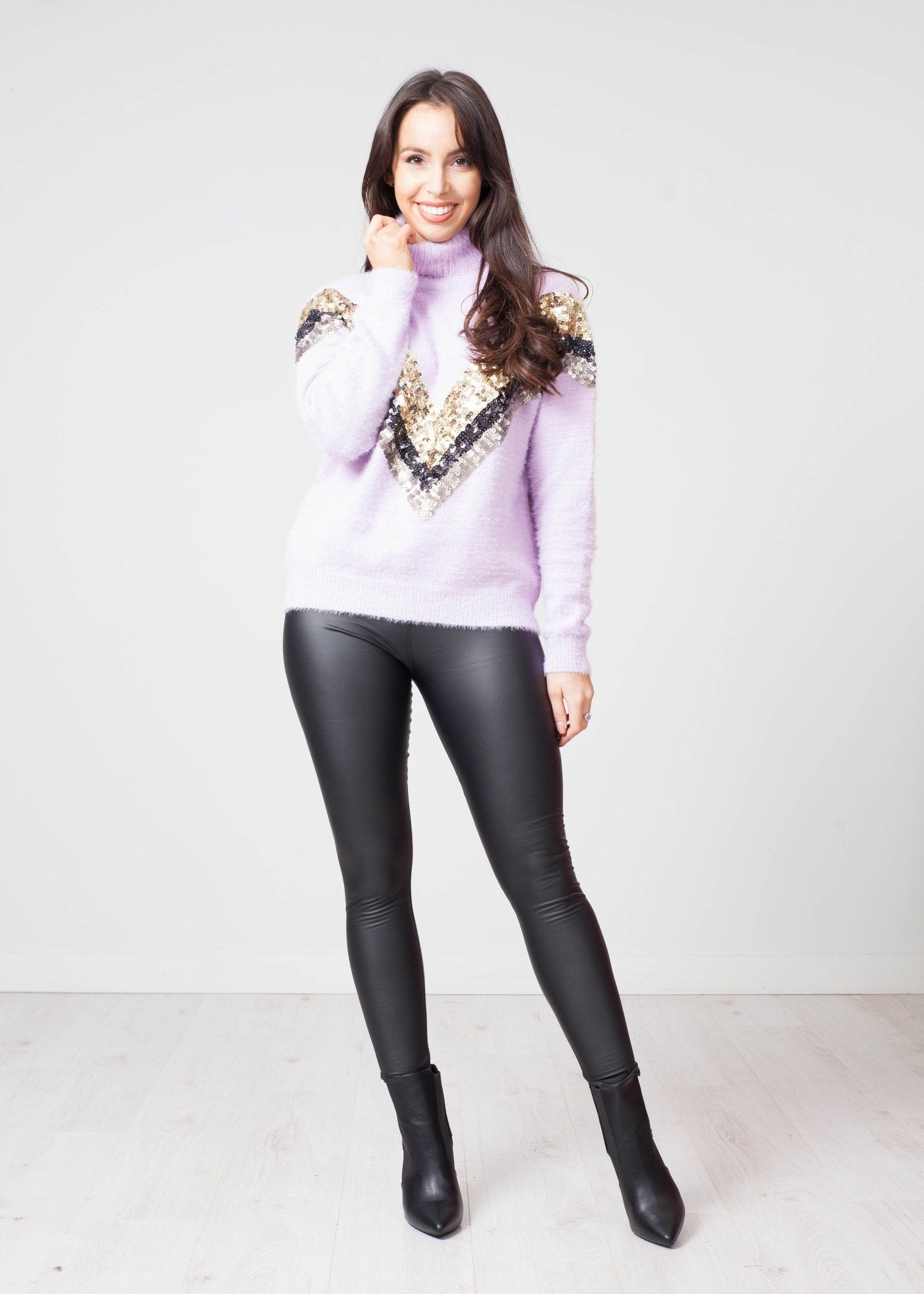Emilia Sequin Polo Neck In Lilac - The Walk in Wardrobe