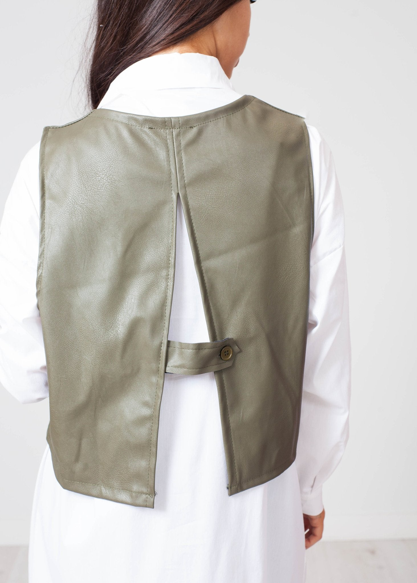Emilia Shirt And Leather Vest In Khaki - The Walk in Wardrobe