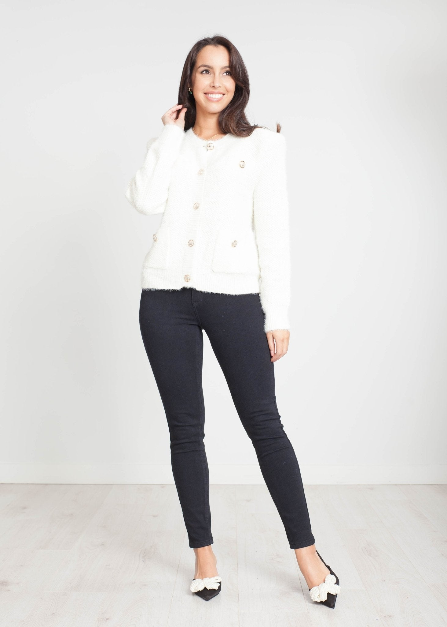 Emilia Shoulder Pad Cardigan in Cream - The Walk in Wardrobe