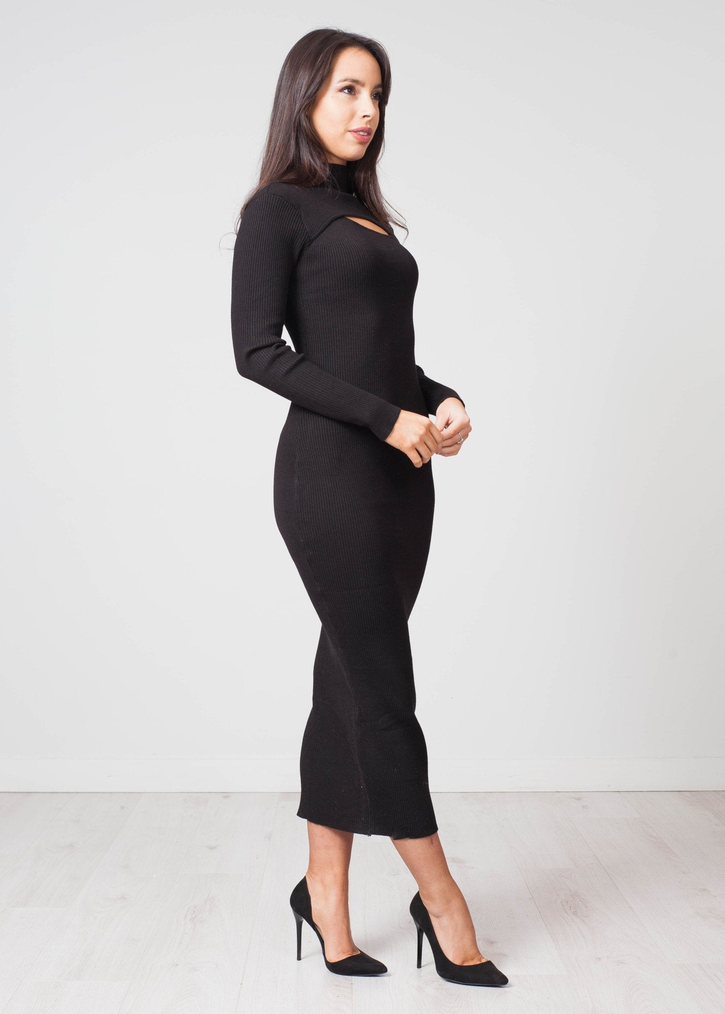 Emilia Slash Front Knit Dress In Black - The Walk in Wardrobe