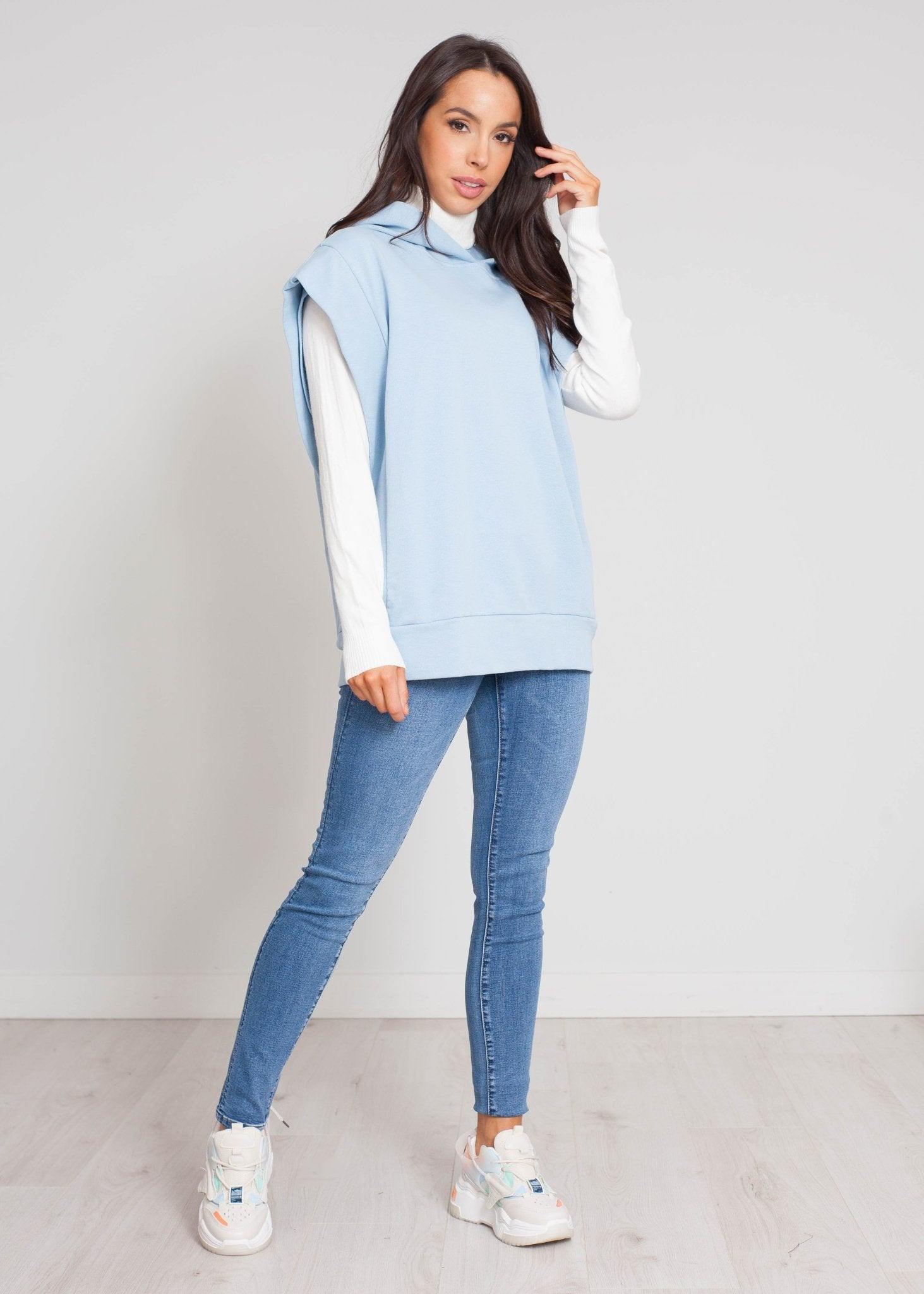 Emilia Sleeveless Hoodie In Blue - The Walk in Wardrobe