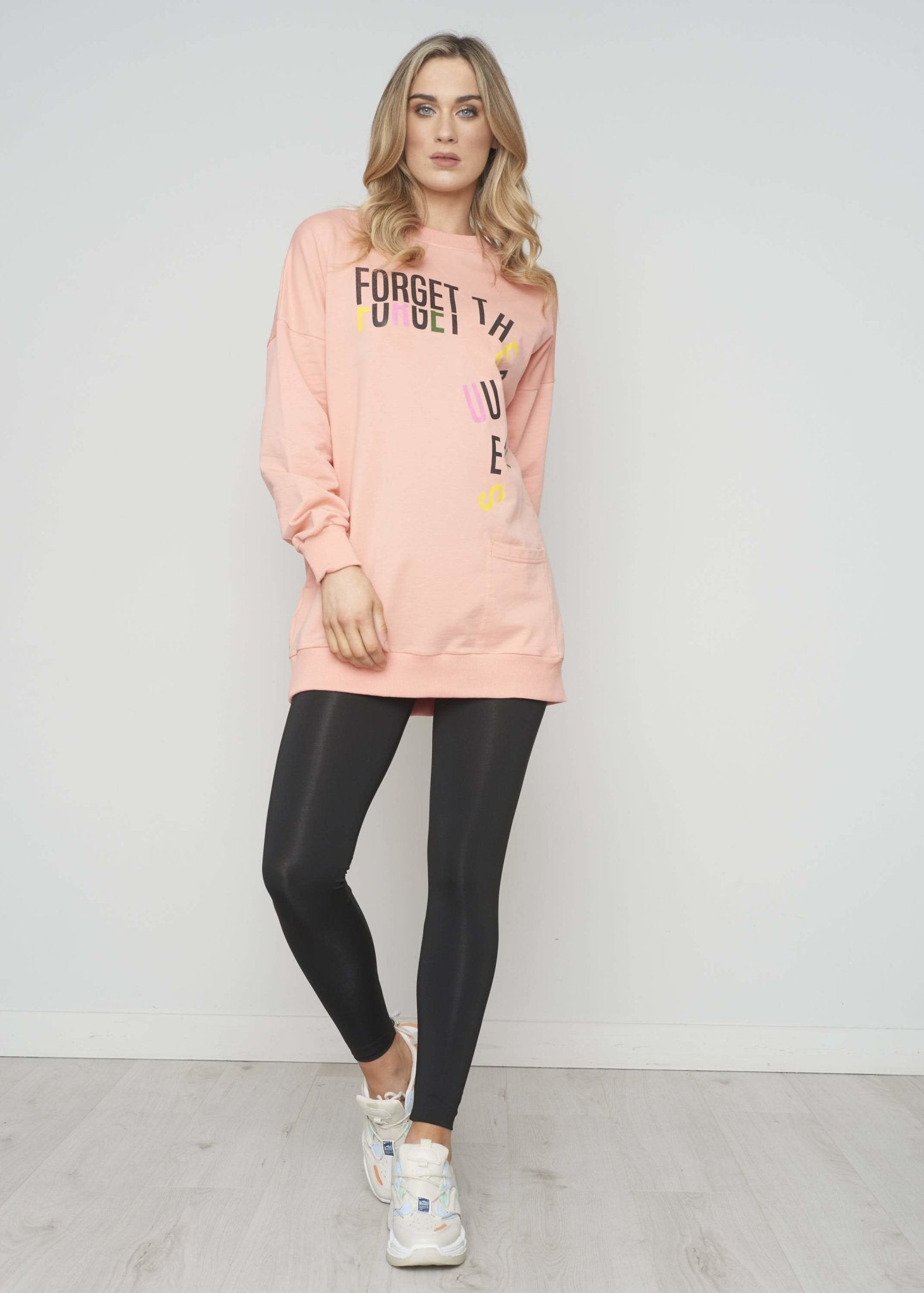 Emilia Slogan Sweatshirt In Coral - The Walk in Wardrobe