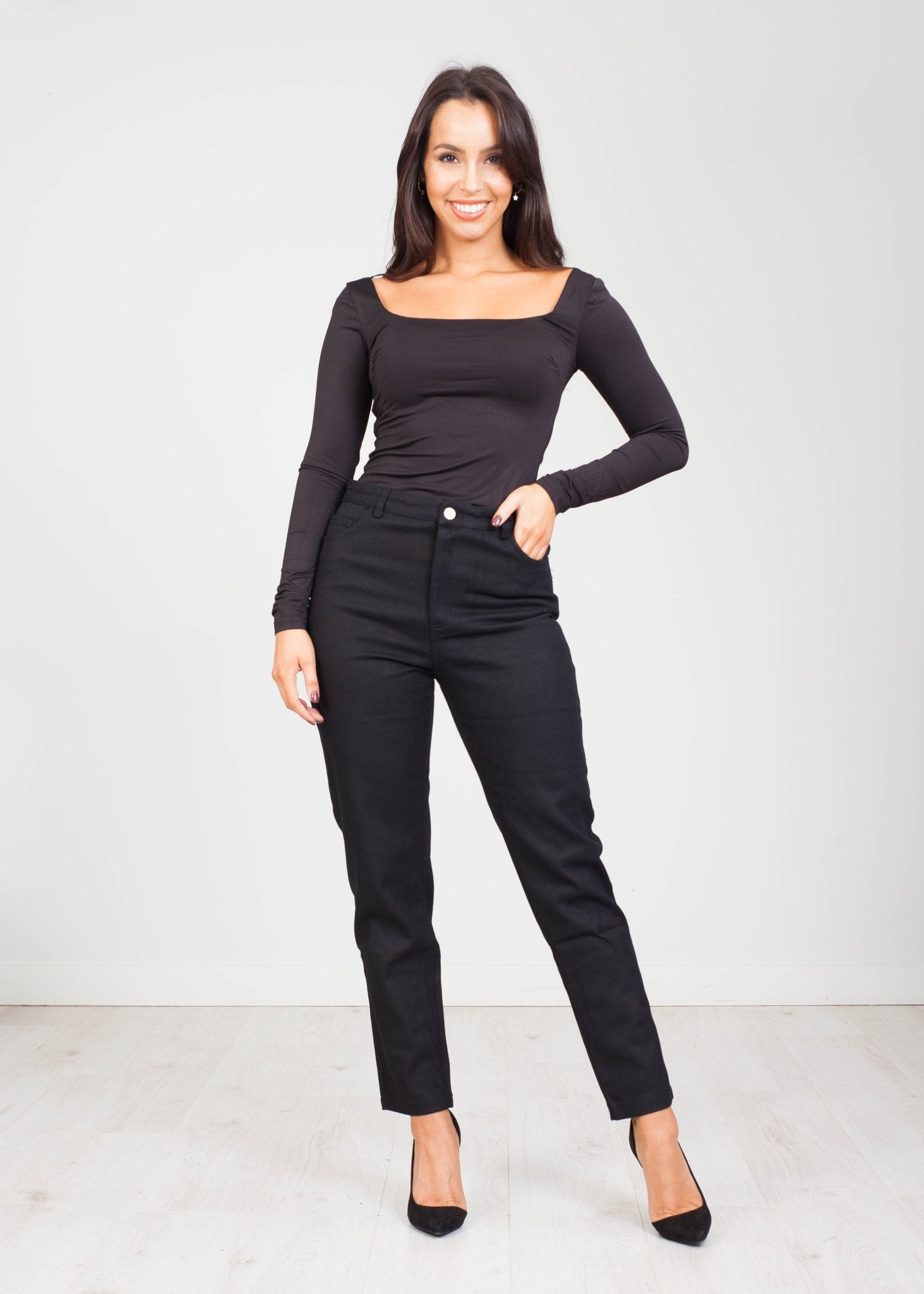 Emilia Square Neck Bodysuit in Black - The Walk in Wardrobe
