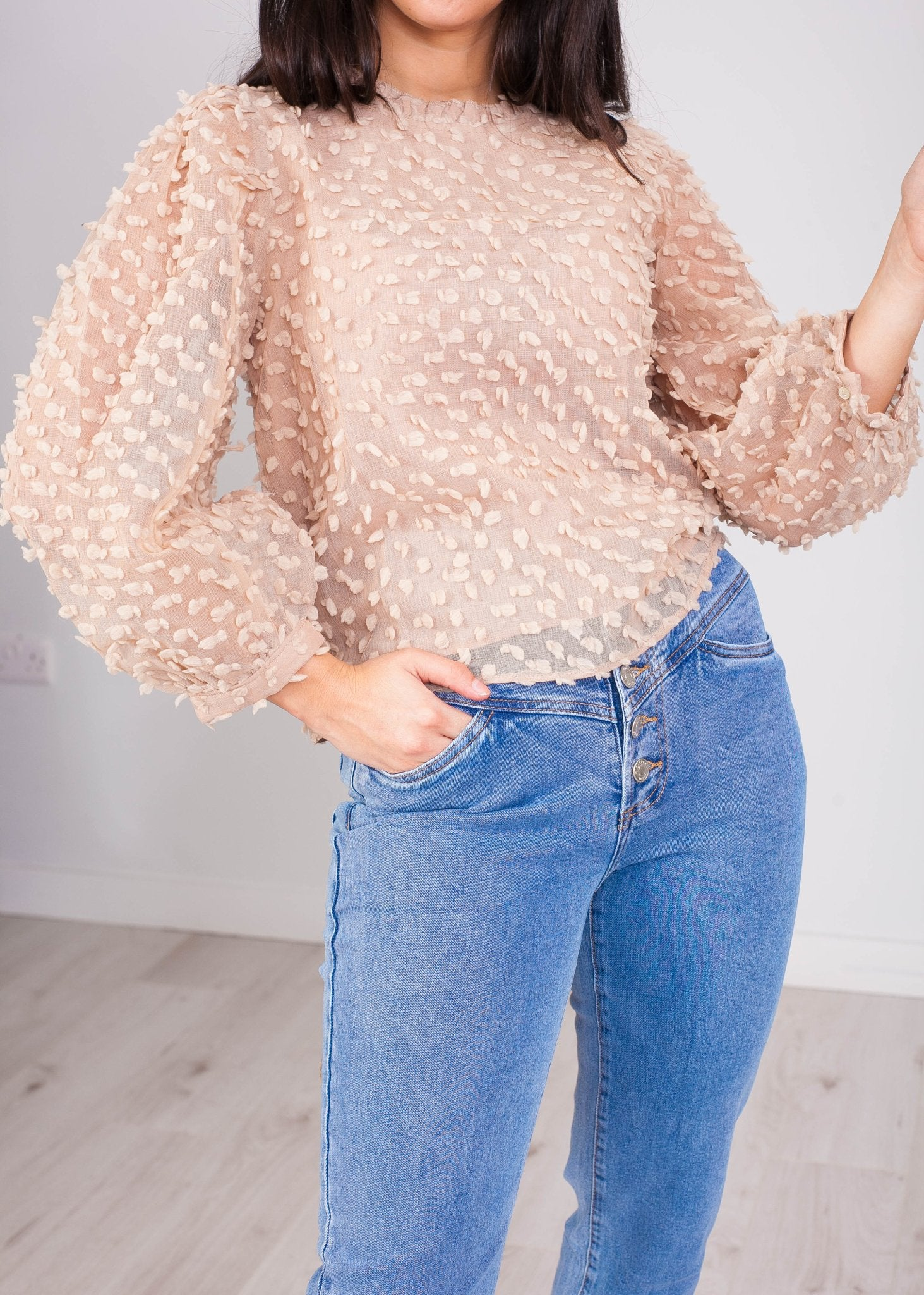 Emilia Tan High Neck Blouse - The Walk in Wardrobe