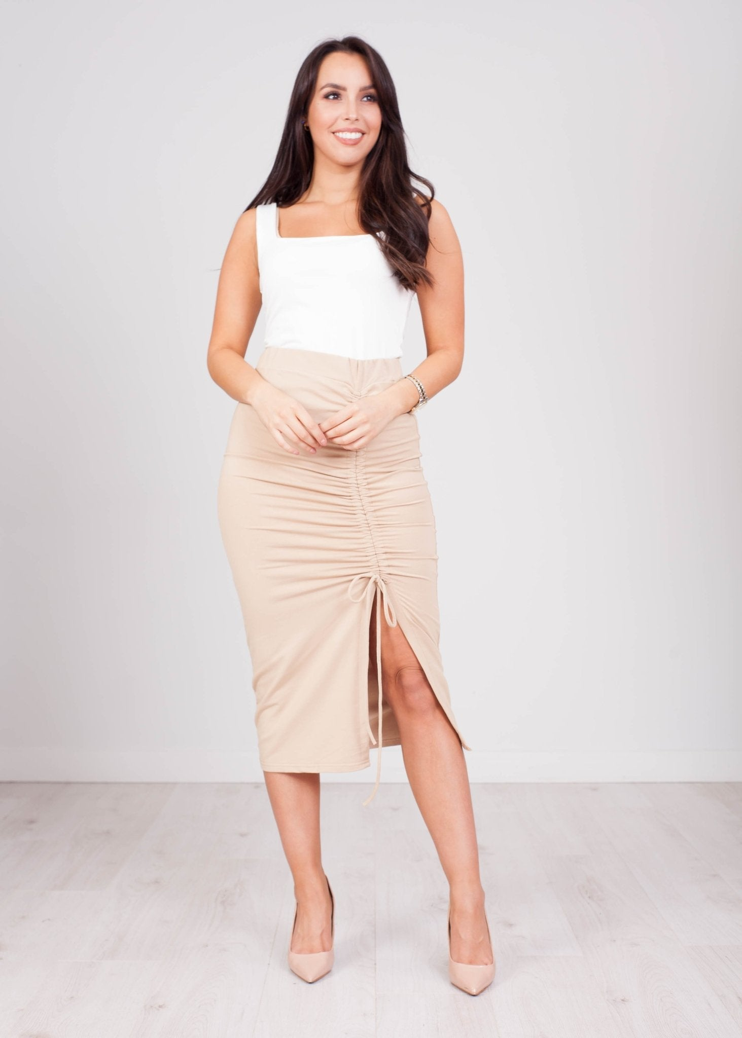 Emilia Tan Jersey Ruched Skirt - The Walk in Wardrobe