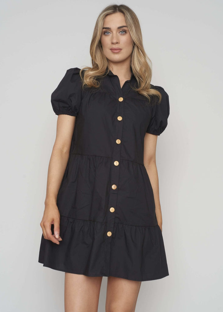 Emilia Tiered Shirt Dress In Black - The Walk in Wardrobe
