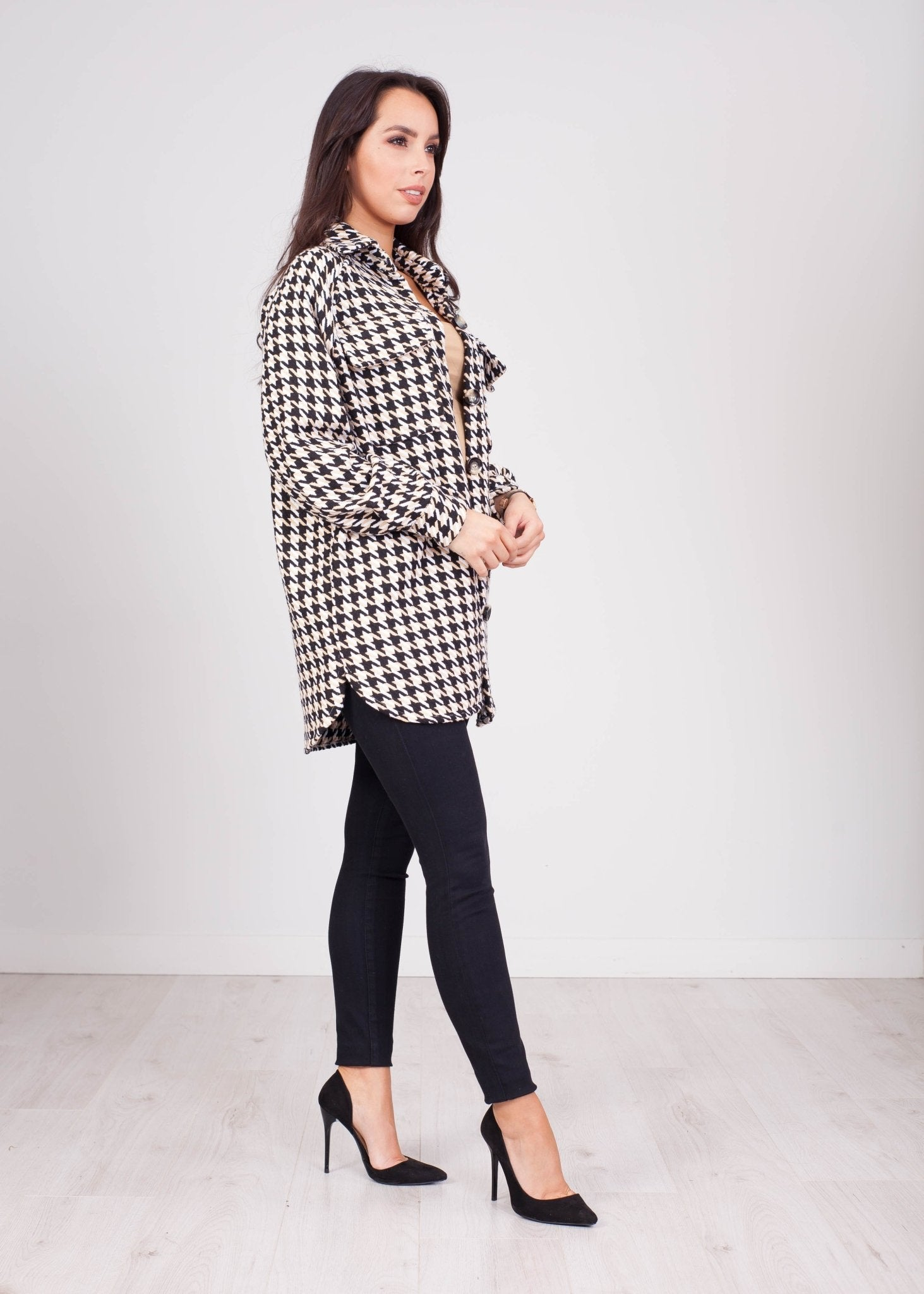 Emilia Tri Coloured Houndstooth Shacket - The Walk in Wardrobe