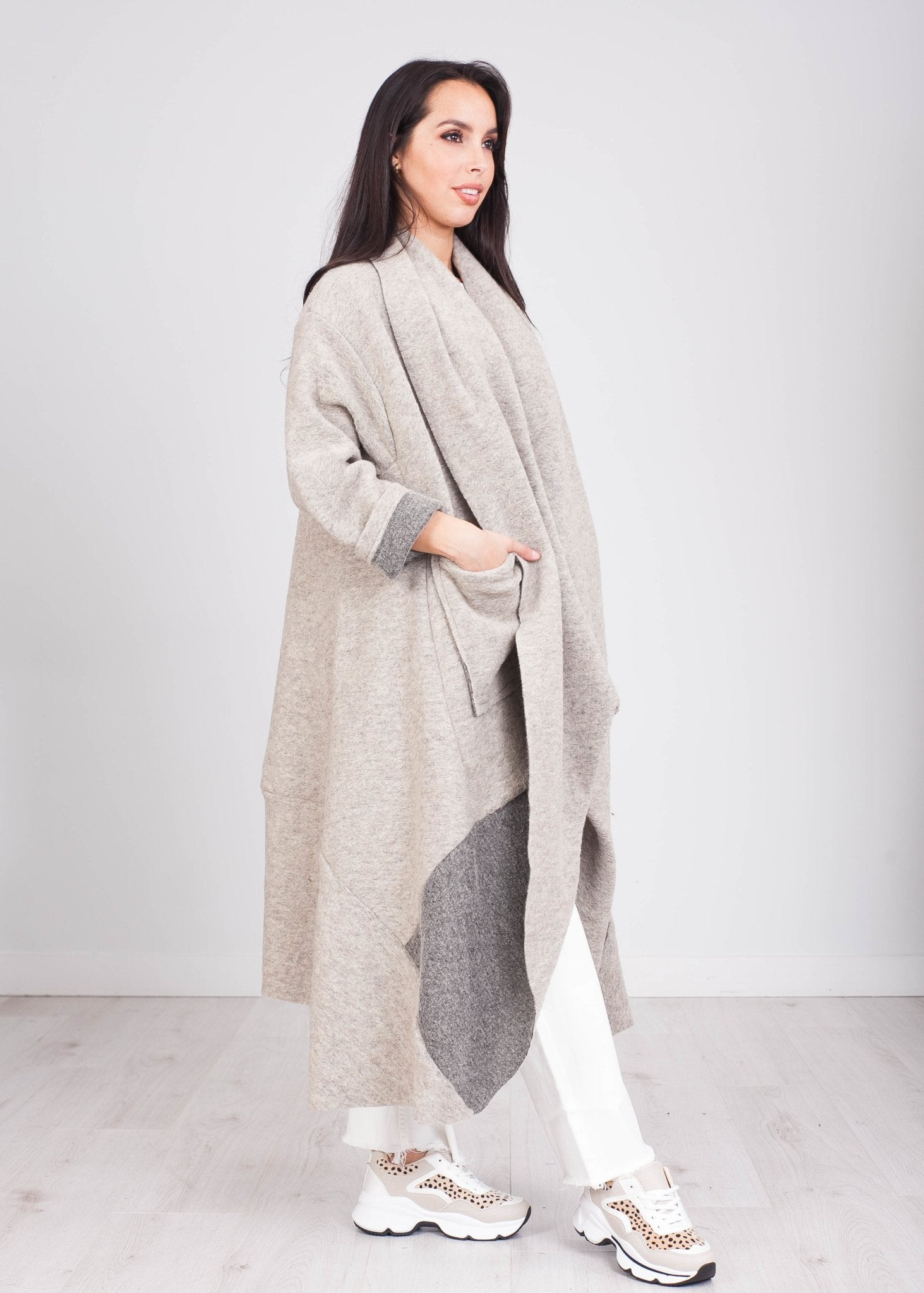 Emilia Two Tone Oversized Cardigan - The Walk in Wardrobe