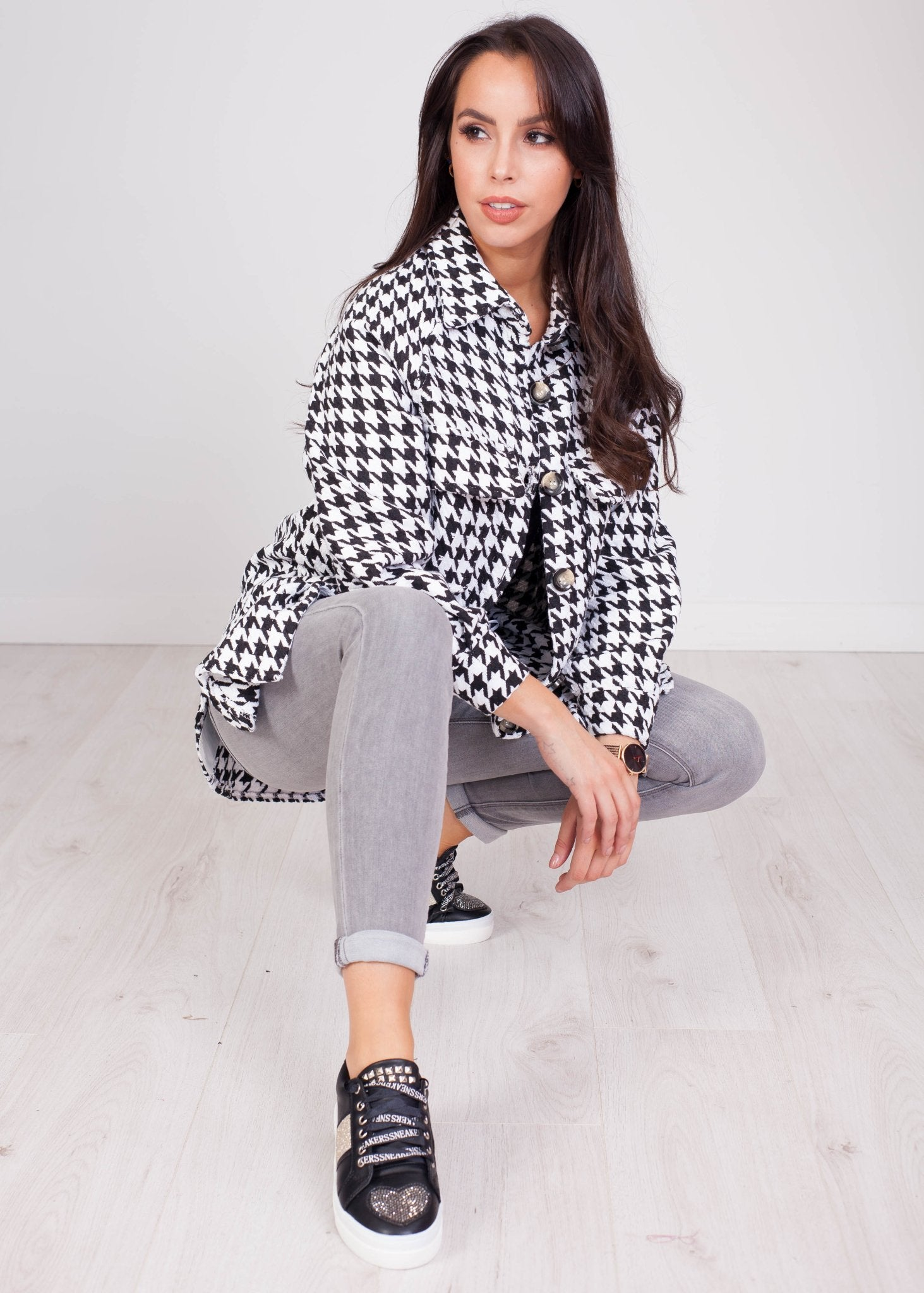 Emilia White & Black Houndstooth Shacket - The Walk in Wardrobe