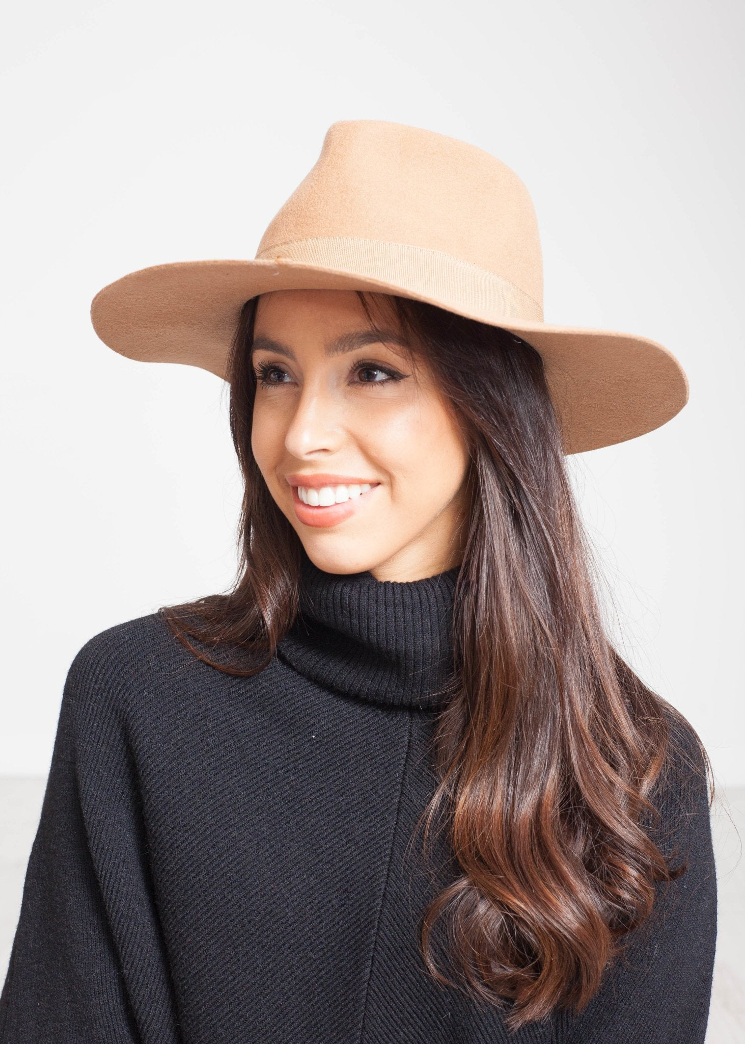 Emilia Wide Brim Fedora In Tan - The Walk in Wardrobe