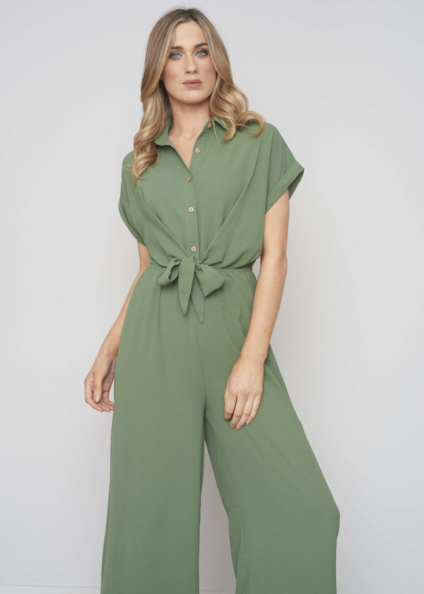 Emilia Wide Leg Jumpsuit In Khaki - The Walk in Wardrobe