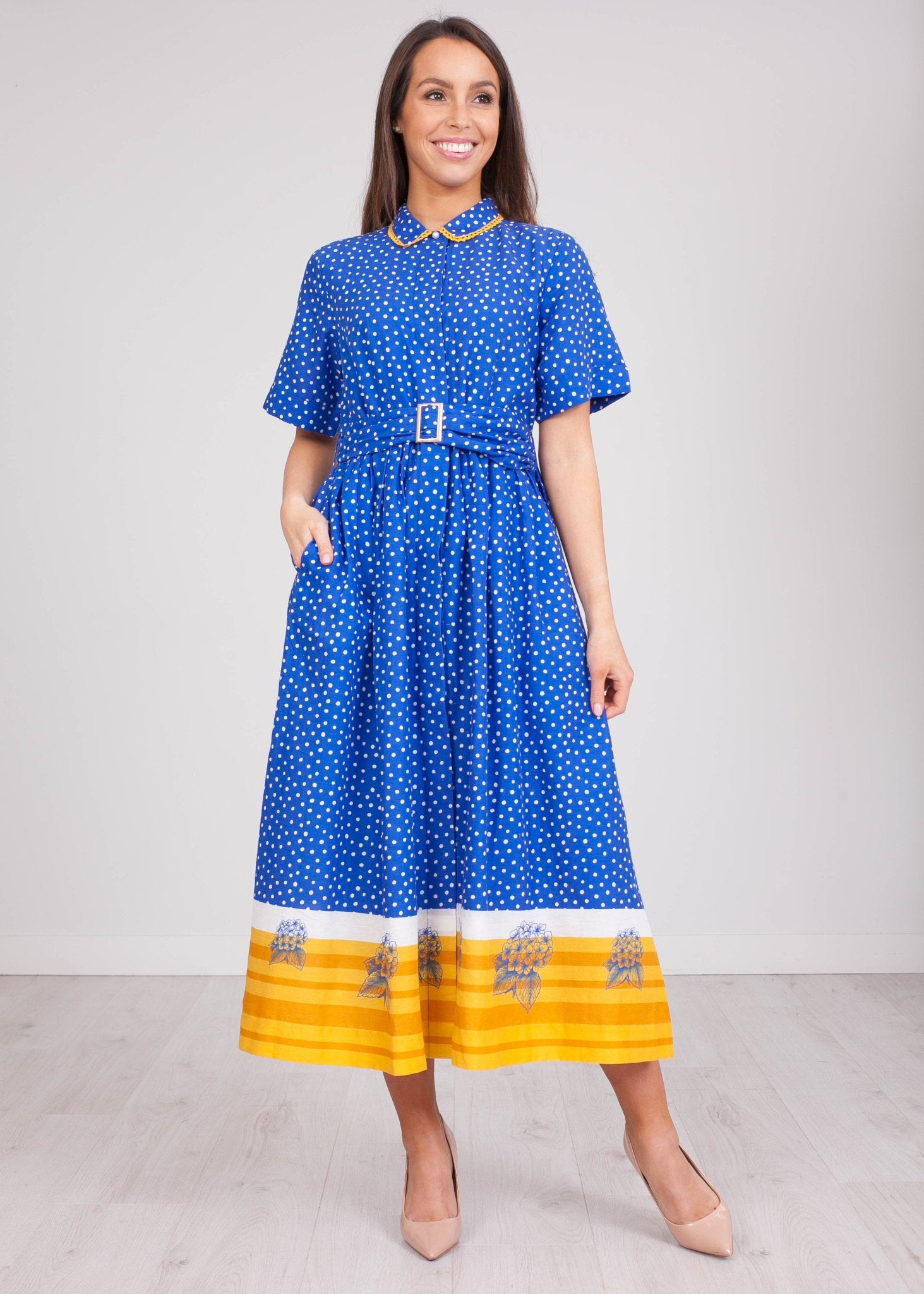 Emily Blue Polkadot Dress - The Walk in Wardrobe