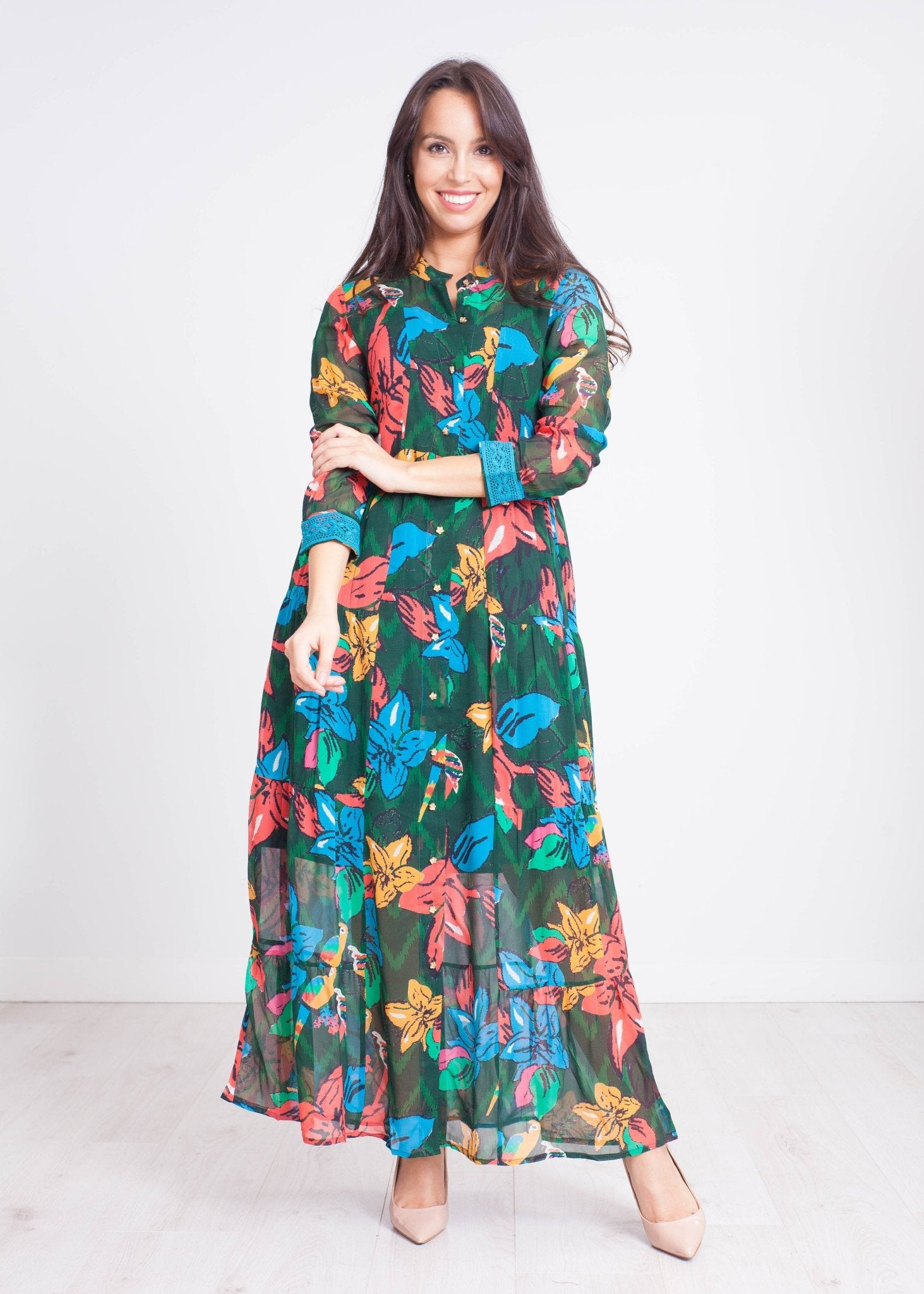 Emily Floral Midi Dress in Blue - The Walk in Wardrobe