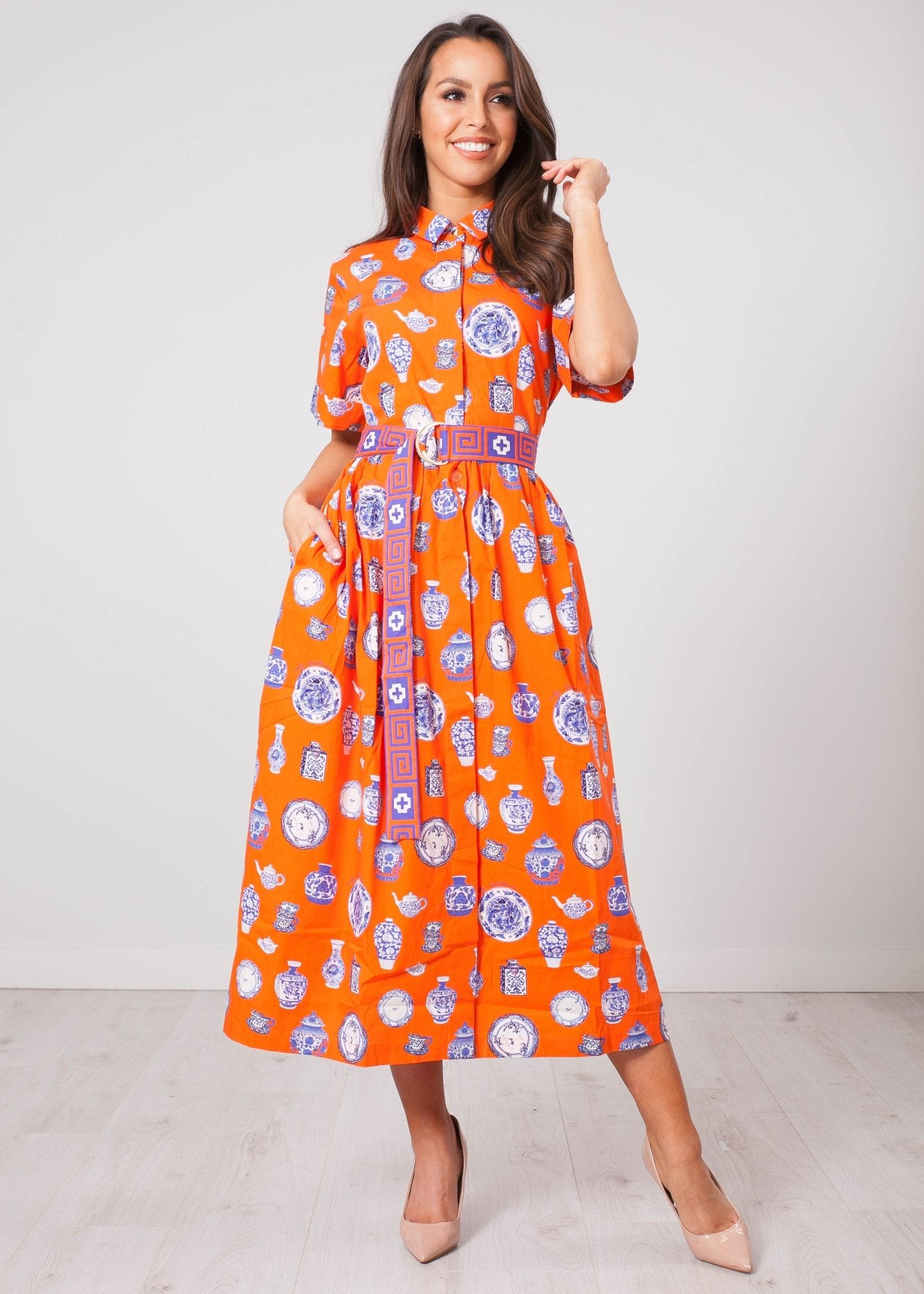 Emily Orange Printed Dress - The Walk in Wardrobe